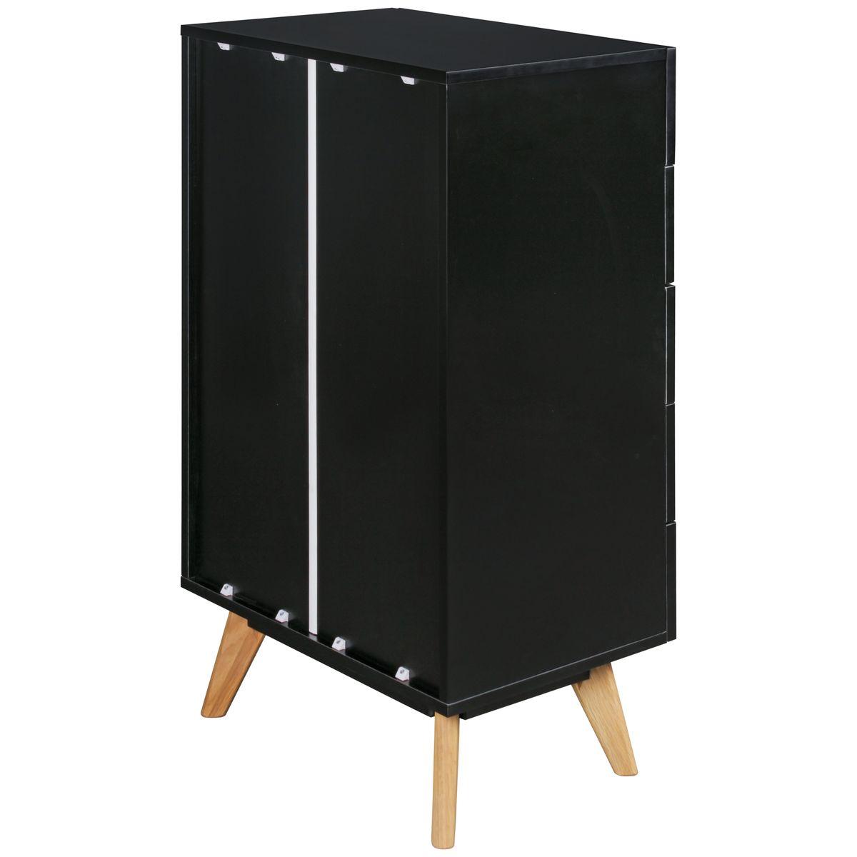 wohnling kommode scanio 60x110x40 cm mdf schwarz anrichte. Black Bedroom Furniture Sets. Home Design Ideas