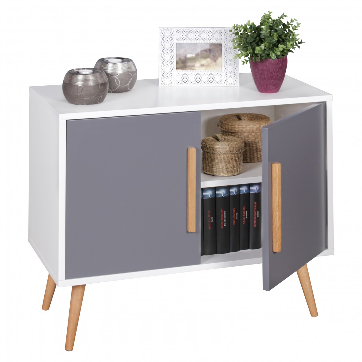 wohnling sideboard 80x70x40 cm scanio kommode mit 2 t ren. Black Bedroom Furniture Sets. Home Design Ideas