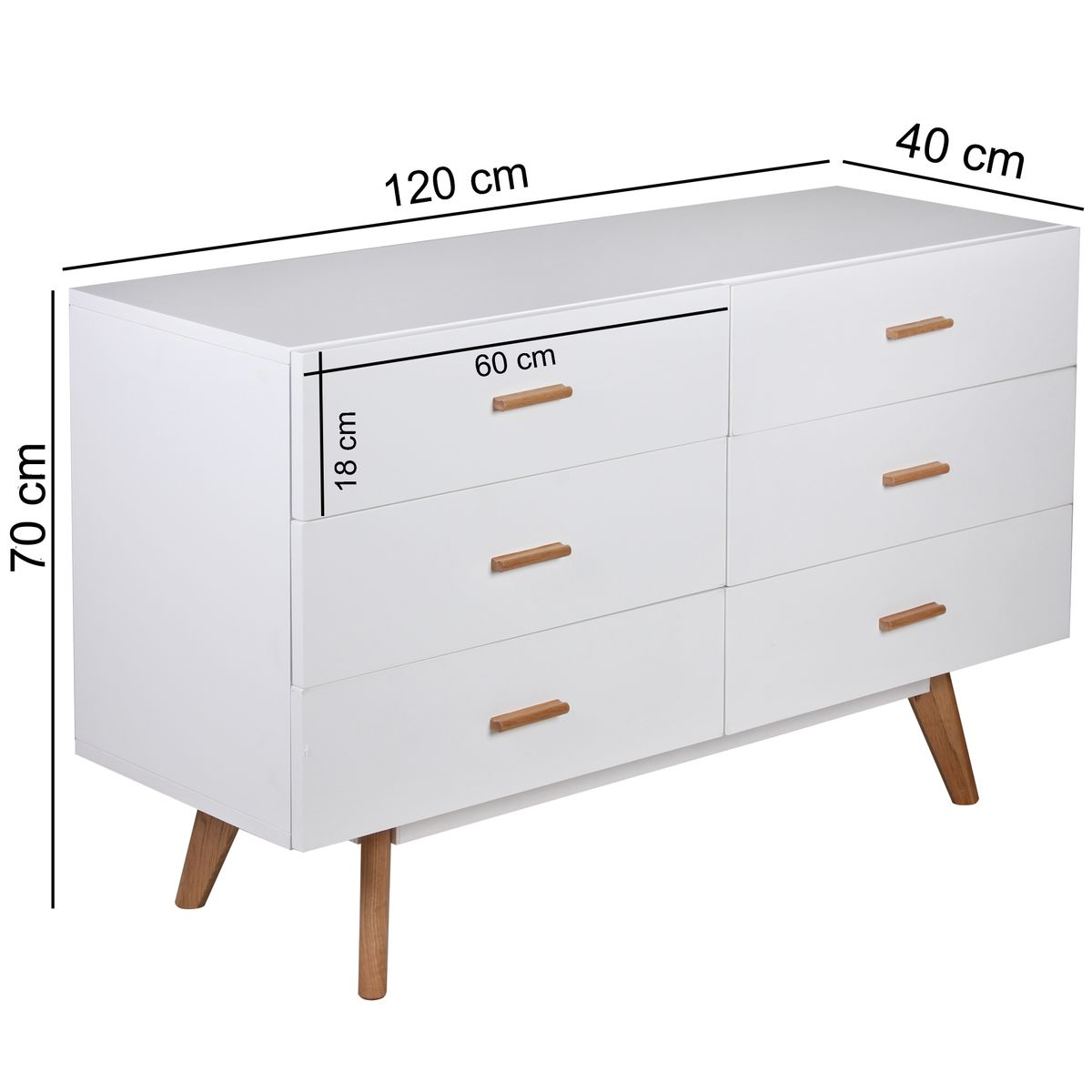 retro sideboard wei 120cm kommode skandinavisch schublade. Black Bedroom Furniture Sets. Home Design Ideas