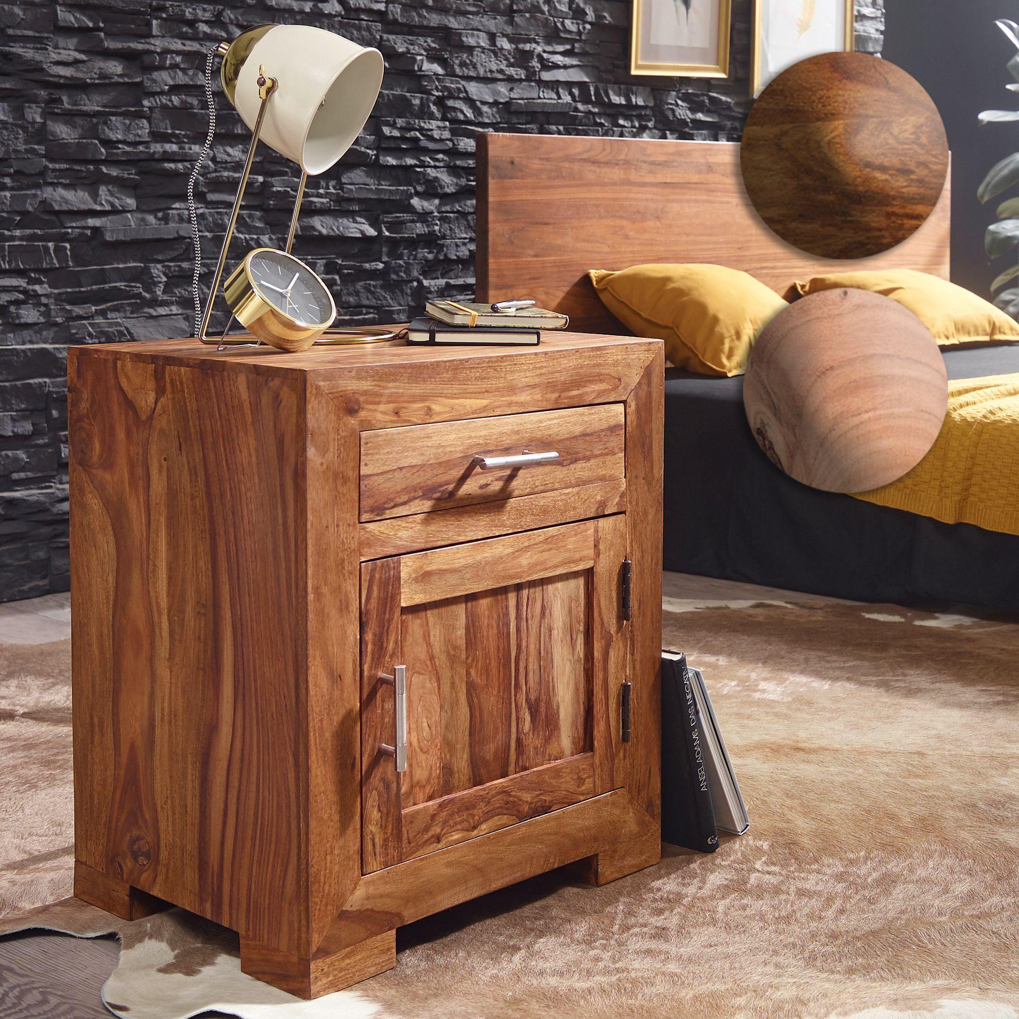 Finebuy Nachttisch Massivholz 60 Cm Nachtschrank Nachtkonsole Für