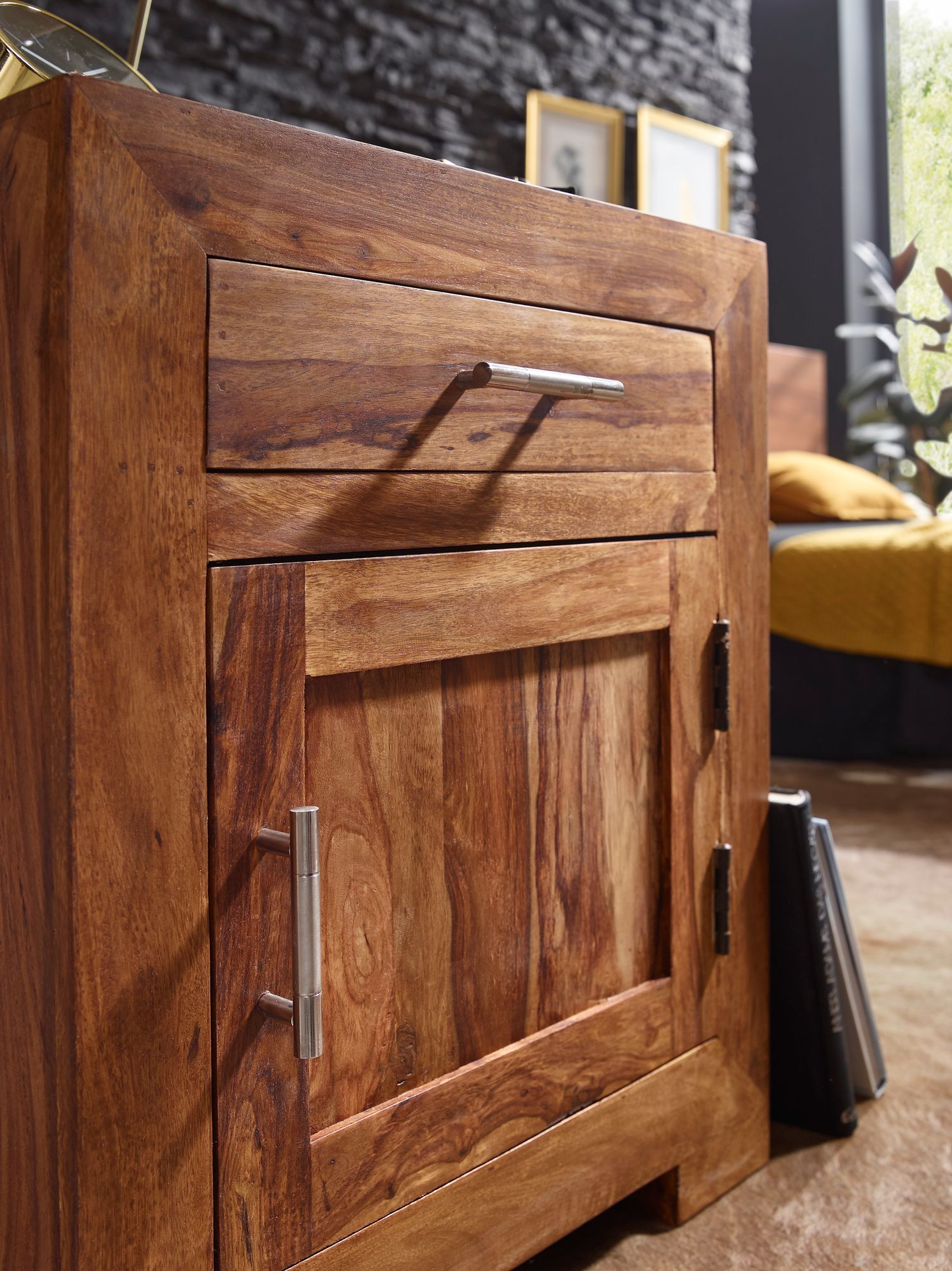finebuy nachttisch massivholz 60 cm nachtschrank. Black Bedroom Furniture Sets. Home Design Ideas