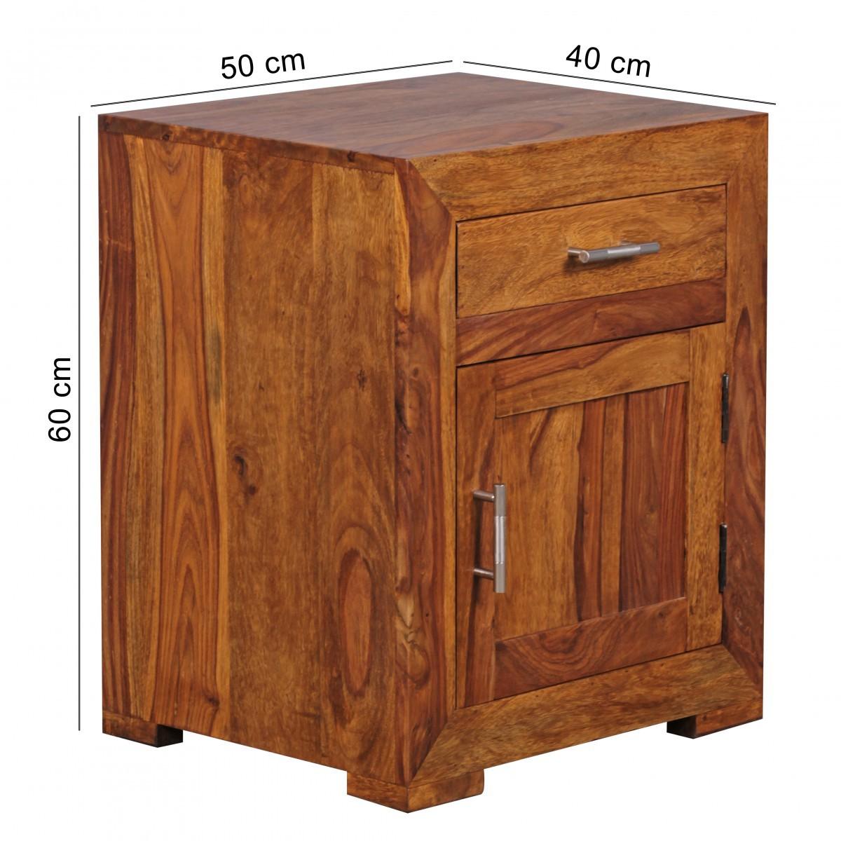 finebuy nachttisch massivholz nachtkommode h 60 cm x b 50 cm mit schublade und t r nachtschrank. Black Bedroom Furniture Sets. Home Design Ideas