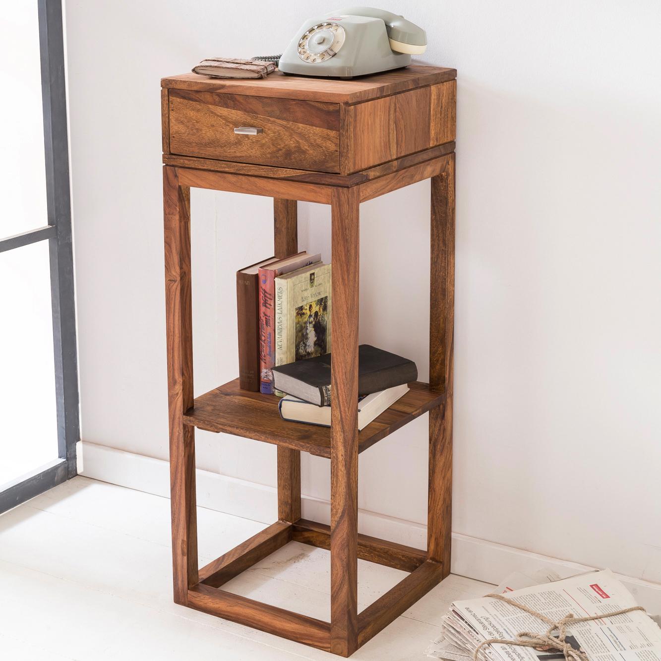 Telefontisch Konsole Tisch weiß antik Landhaus Beistelltisch Holz Schublade