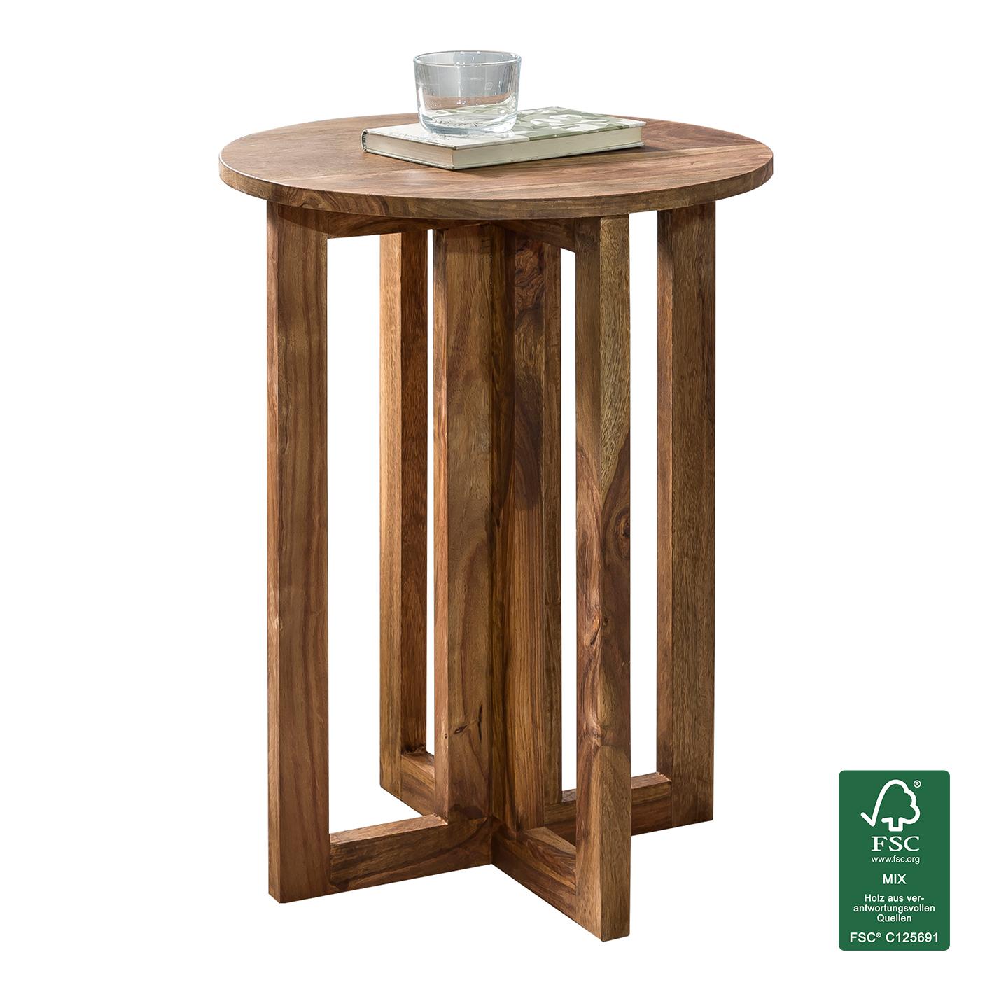 FineBuy Beistelltisch Massivholz Design Deko Anstell Tisch 45 X 45 Cm Rund  Nachttisch Echt