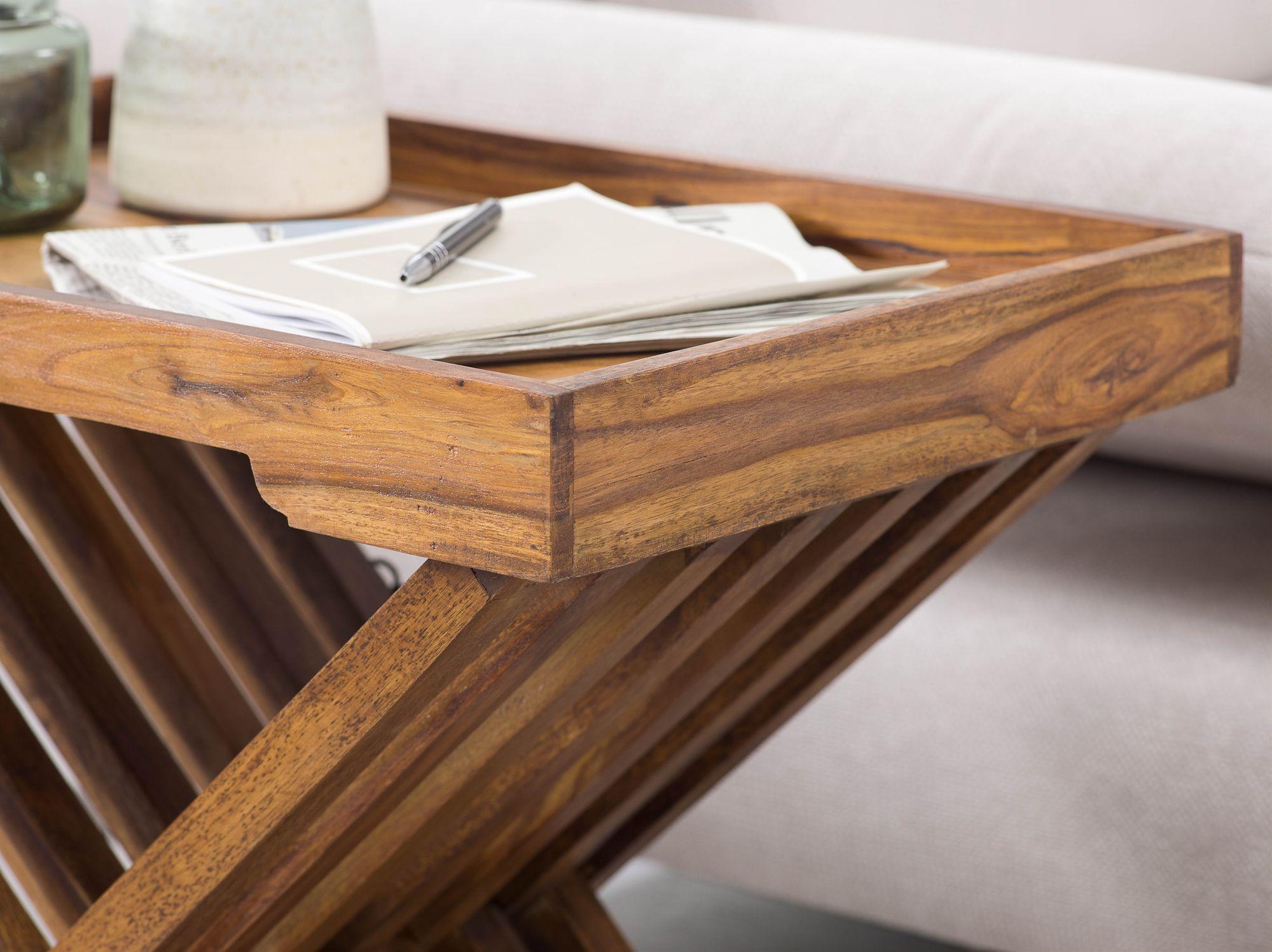 Finebuy Beistelltisch Klappbar Massiv Holz Couchtisch Klapptisch Serviertablett