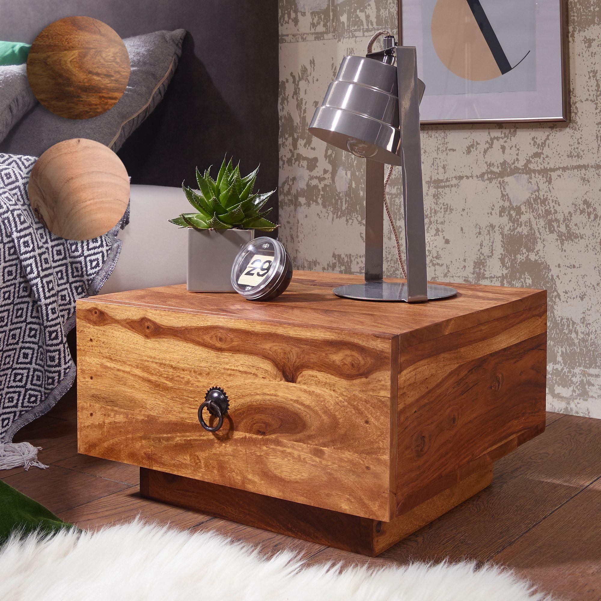 FineBuy Design Nachttisch Massiv Holz 40x40x25 Cm | Moderne Nacht Kommode  Mit Schublade |