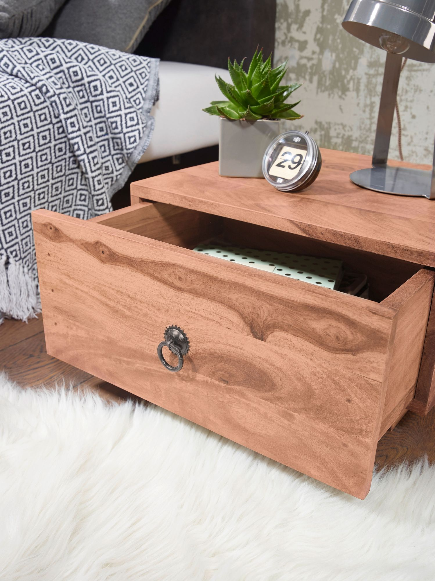 Finebuy Nachttisch Massiv Holz Nacht Kommode 25 Cm Hoch Schublade Nachtschrank