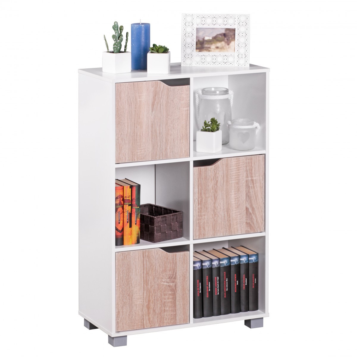 FineBuy Design Bücherregal Modern Holz Weiß Mit Türen Sonoma Eiche  Standregal Freistehend 6 Fächer 60 X 90 X 30 Cm 42860