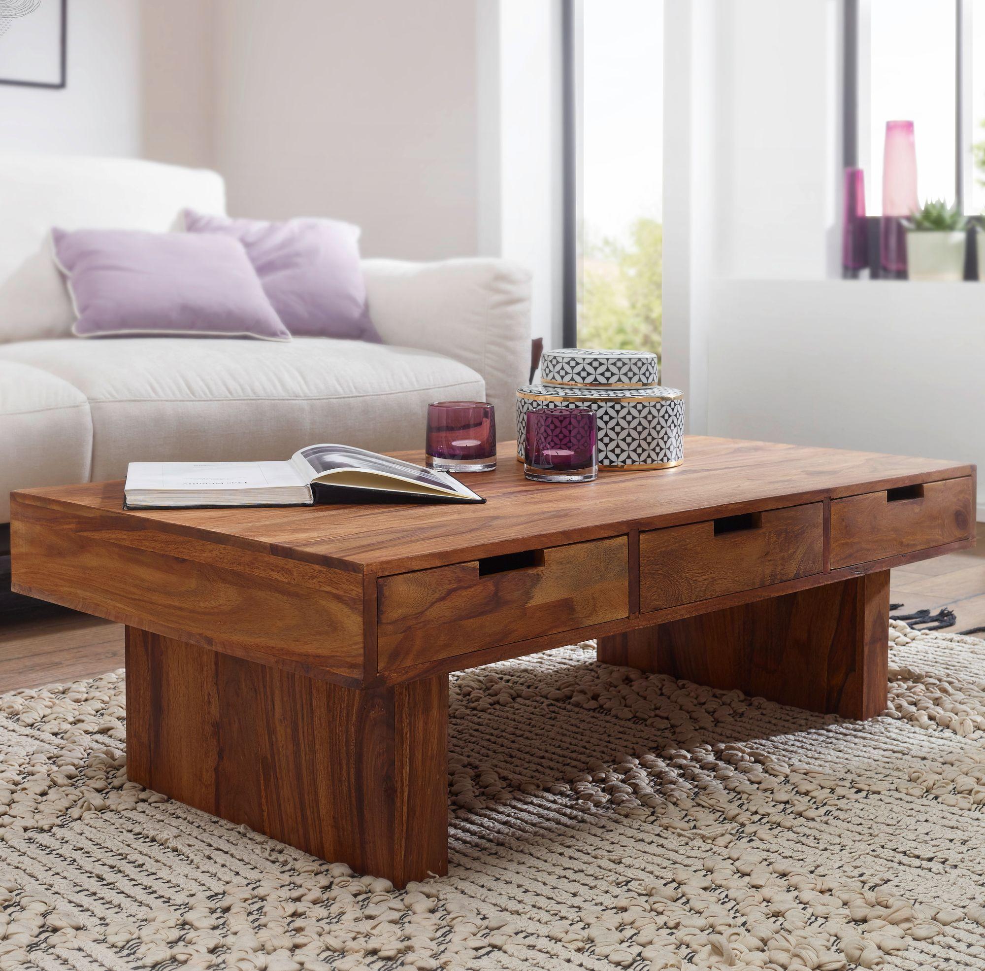 FineBuy Couchtisch Massivholz Design Wohnzimmer Tisch 110 X 60 Cm Mit 6  Schubladen Landhaus