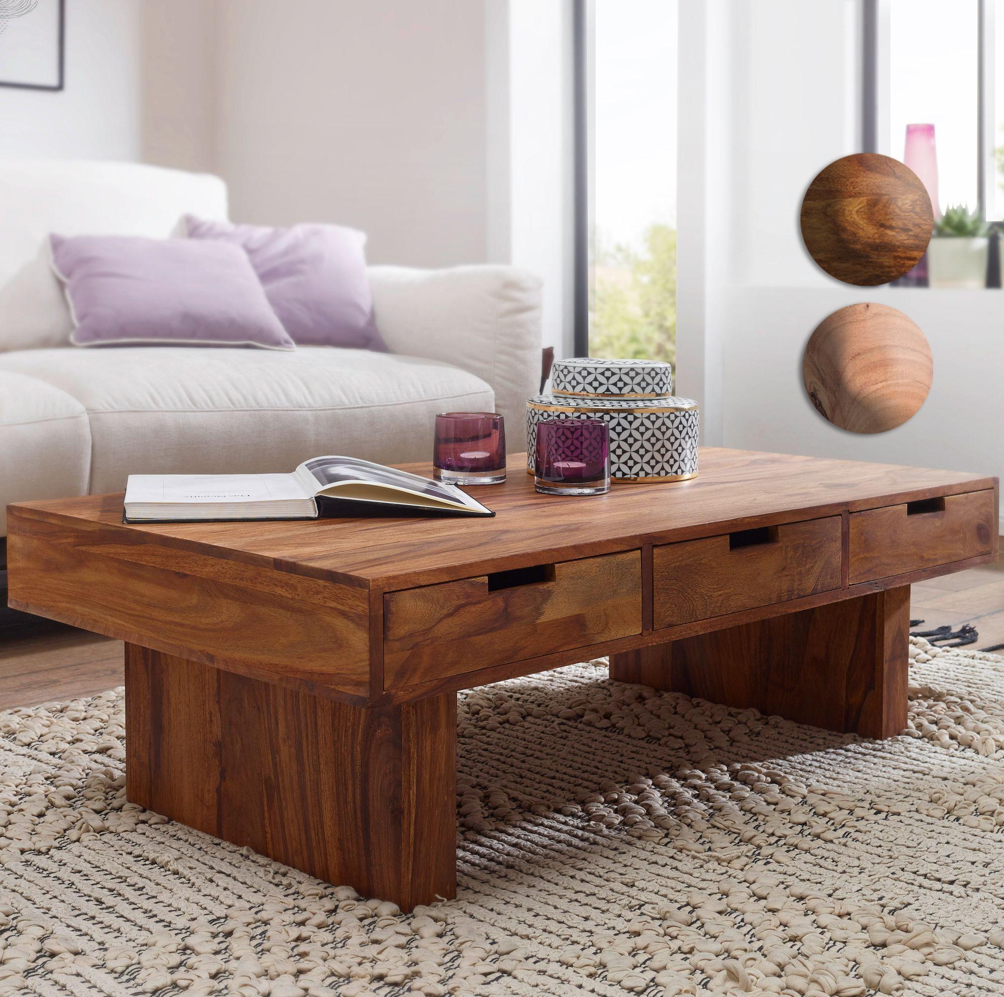 Finebuy Couchtisch Massivholz Wohnzimmer Tisch 110 X 60cm 6