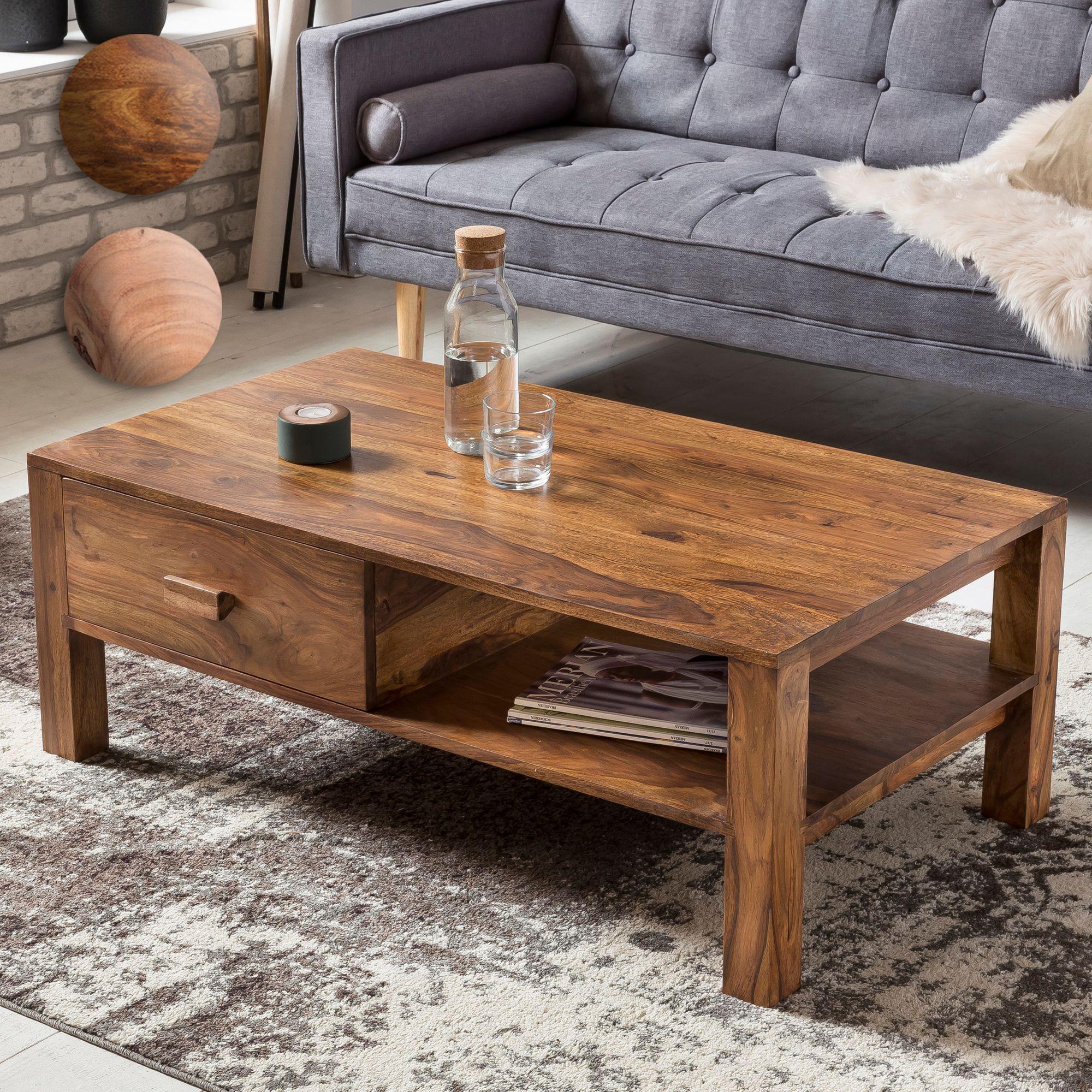 Couchtisch holz design  FineBuy Couchtisch Massivholz 110 x 40 x 60 cm mit Stauraum und 1 ...