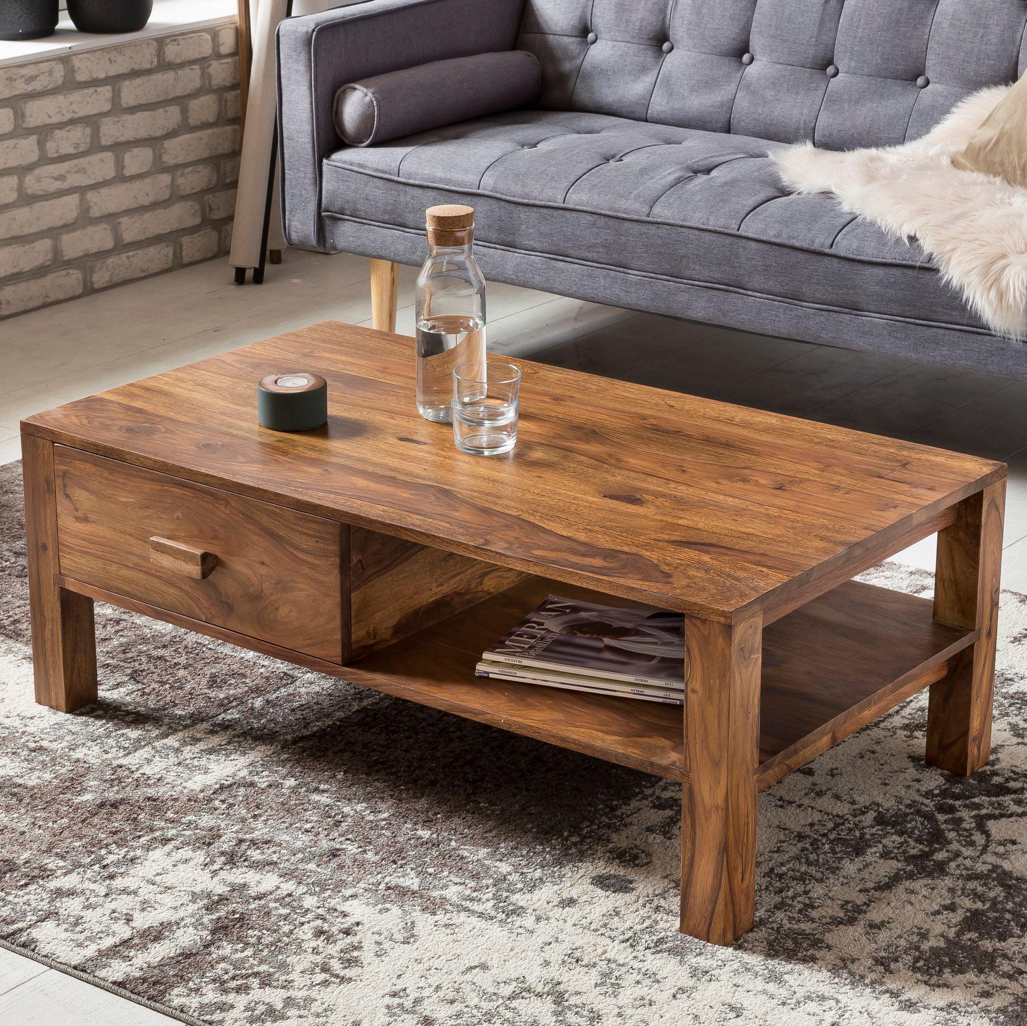 AuBergewohnlich FineBuy Couchtisch Massivholz 110 X 40 X 60 Cm Mit Stauraum Und 1 Schublade  | Design