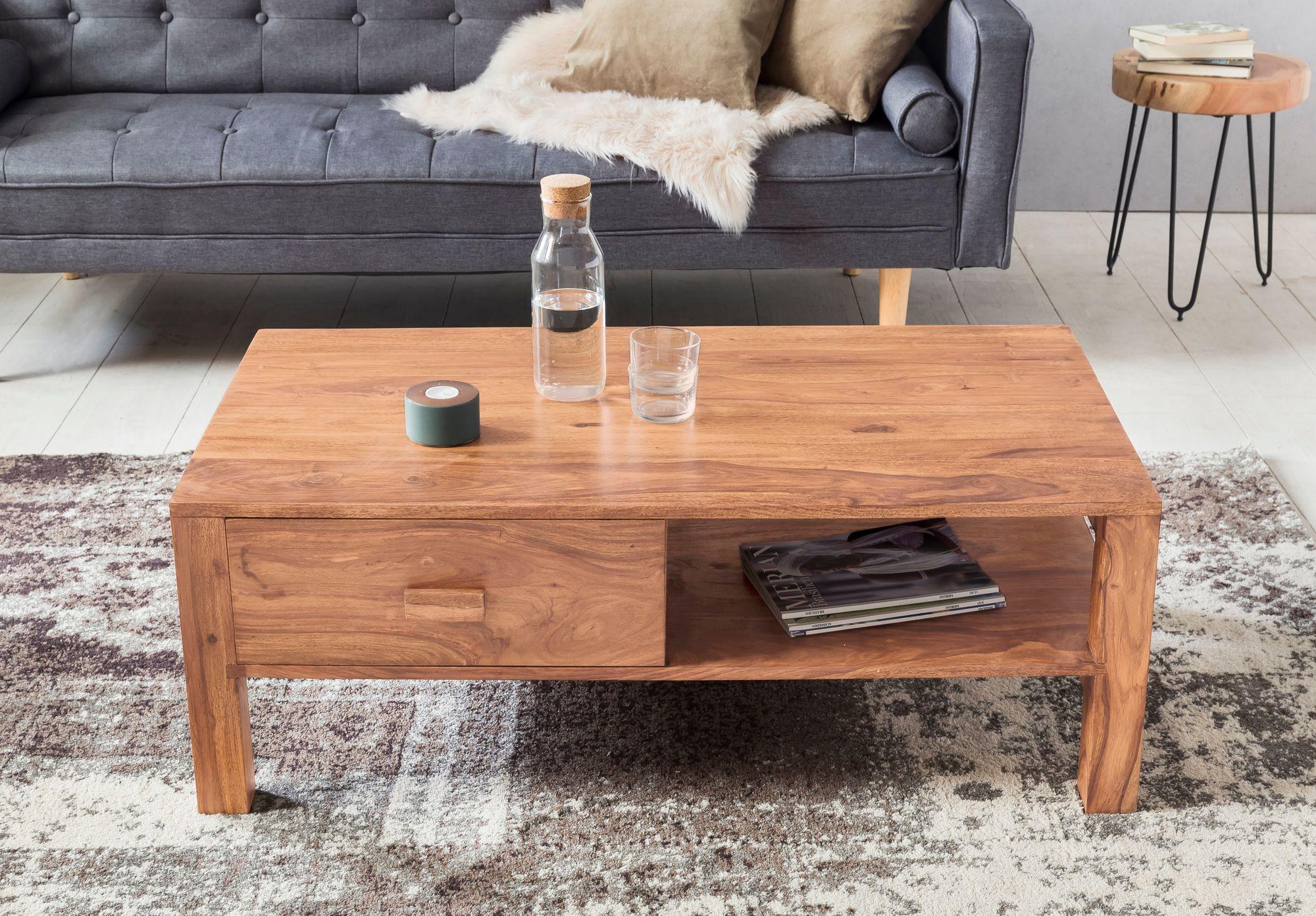 Finebuy Couchtisch Massivholz Wohnzimmer Tisch 110 X 60cm