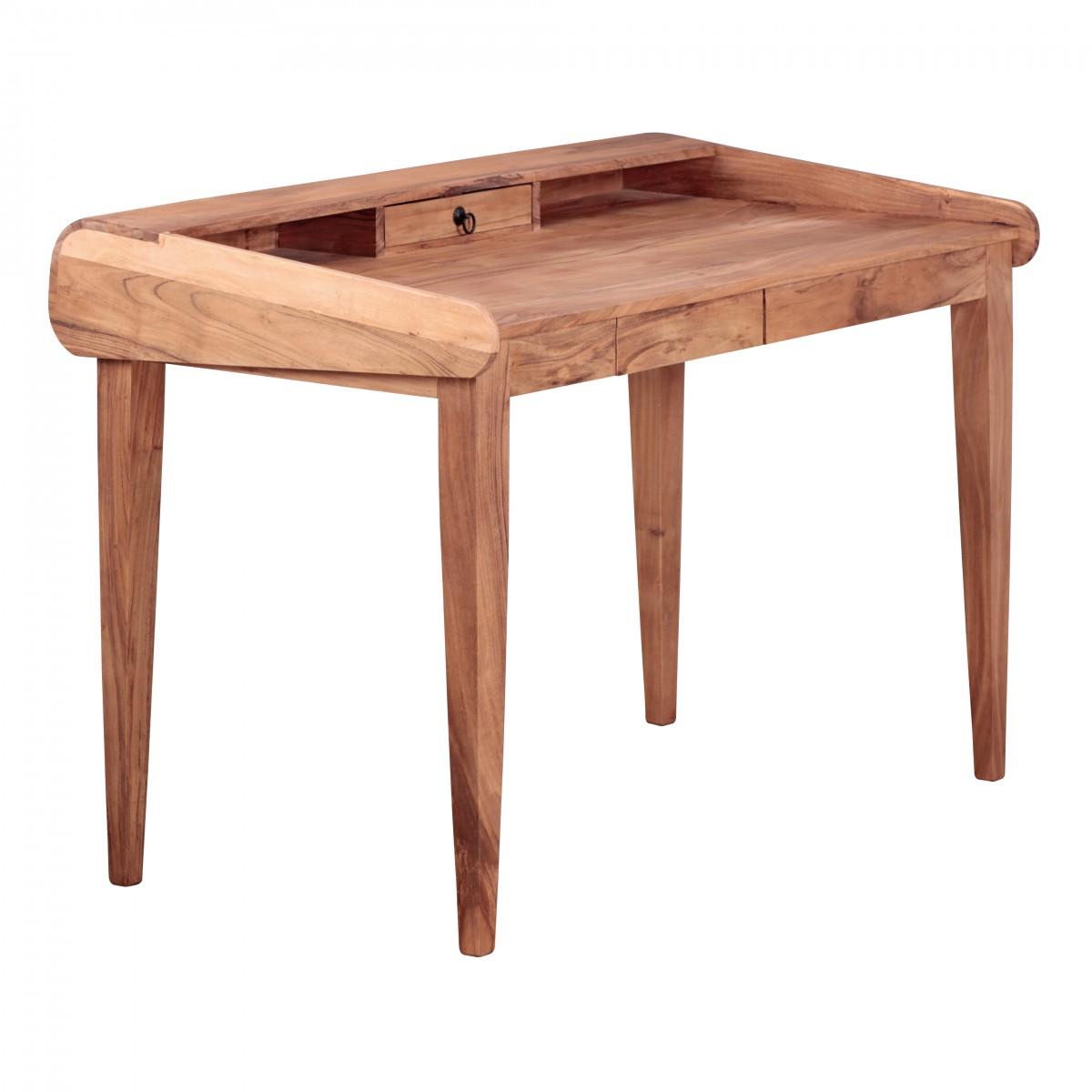 Finebuy design schreibtisch massiv holz 117x76x70 cm for Schreibtisch mit aufsatz holz