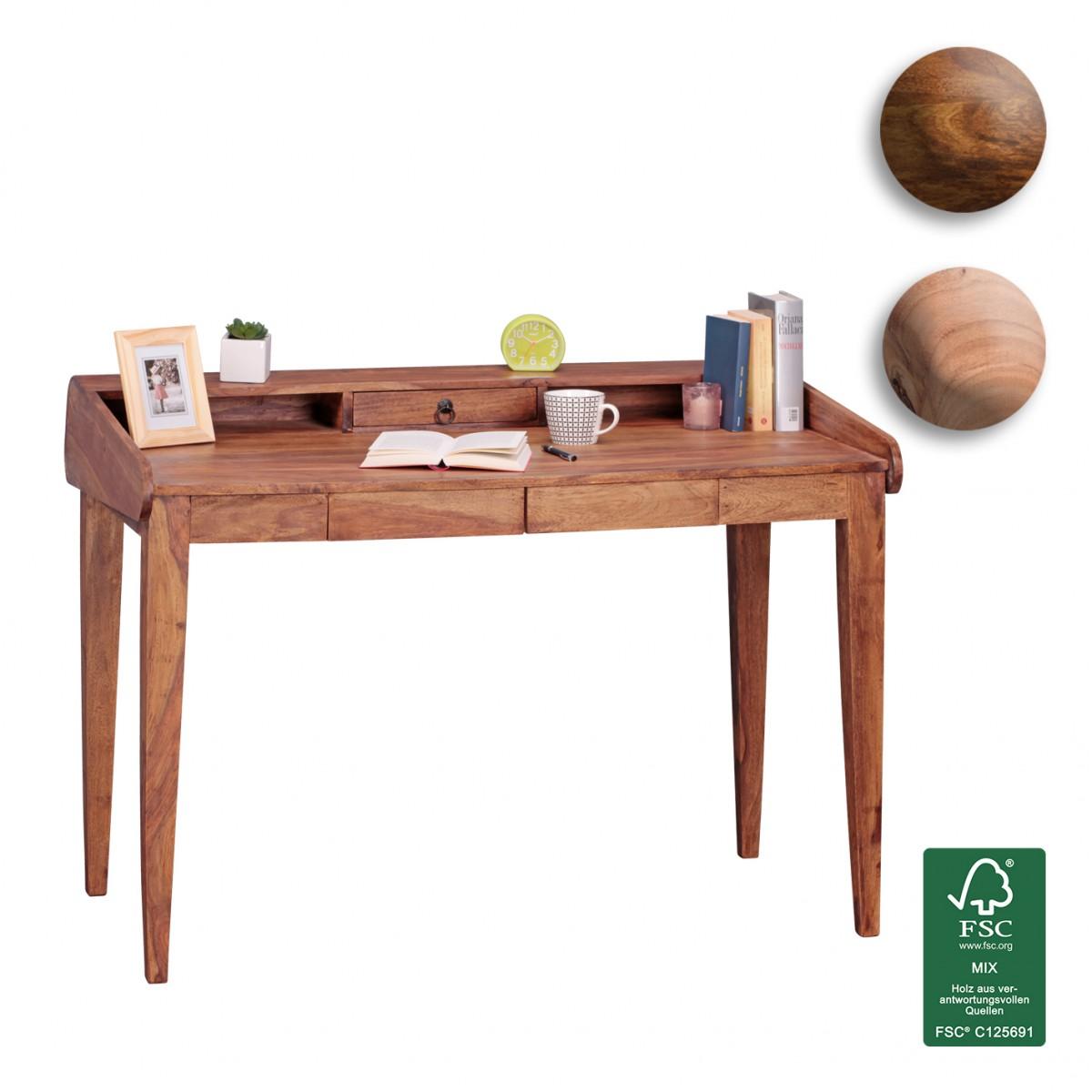 Finebuy Schreibtisch Massiv Holz Sekretar 117cm Ablage Buro Tisch