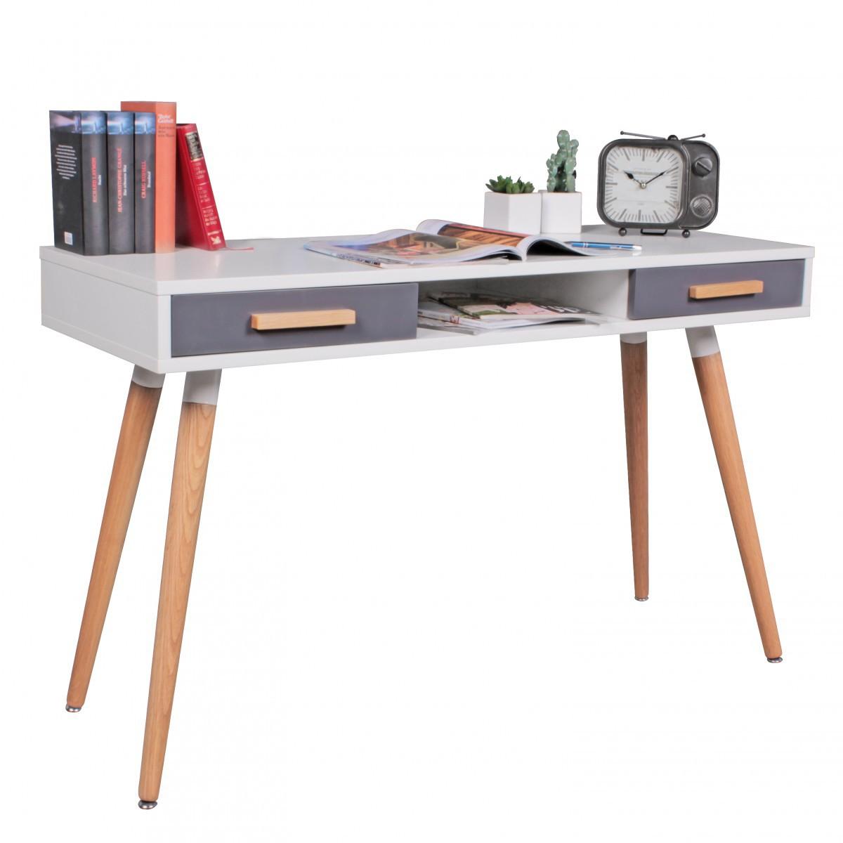 FineBuy Schreibtisch MDF Retro Holztisch 120 cm breit Schubladen ...