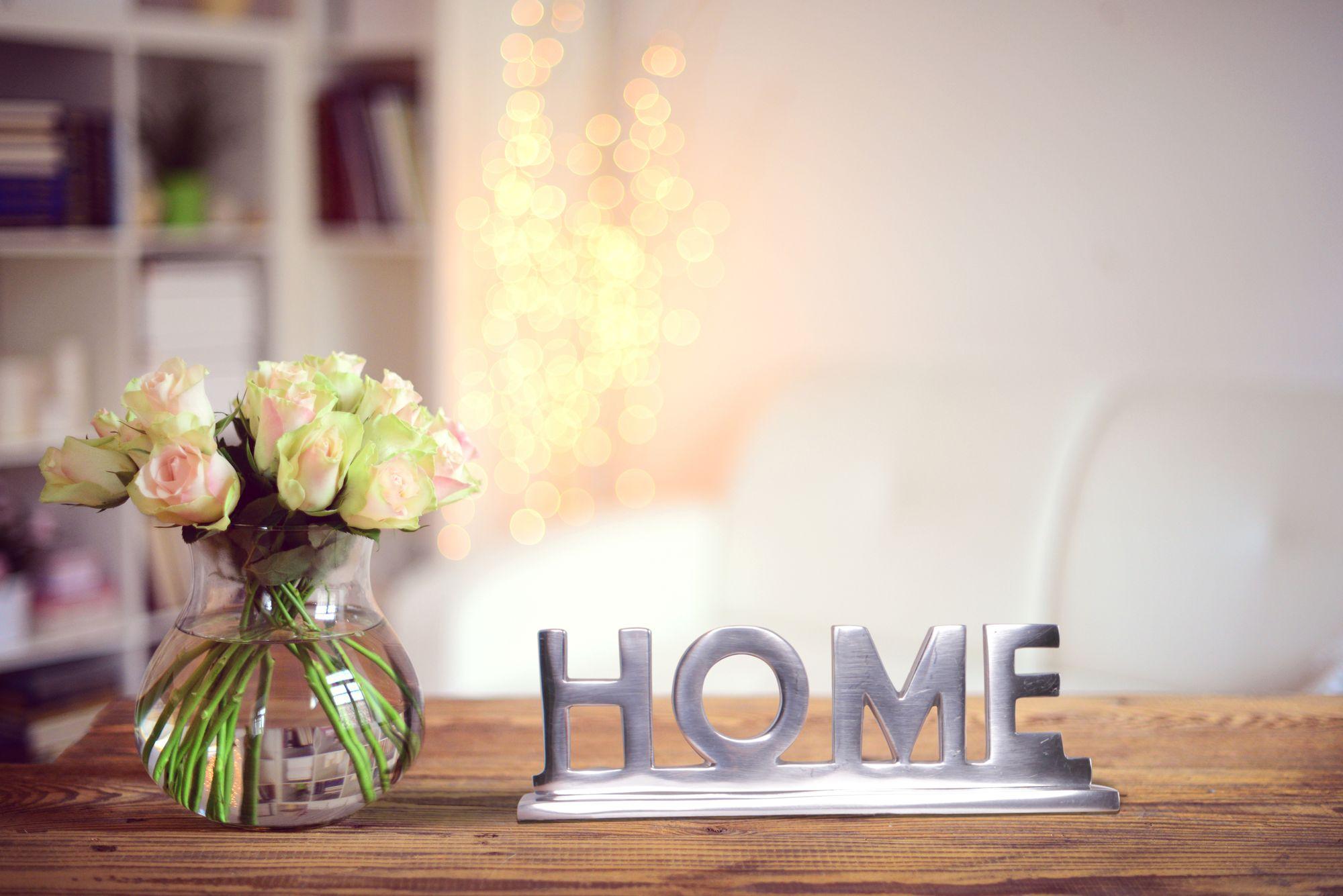 FineBuy Home Deko Schriftzug Design Wohnzimmer Ess Tisch  Dekoration  Wohnung Alu Aluminium Wohndeko Silber