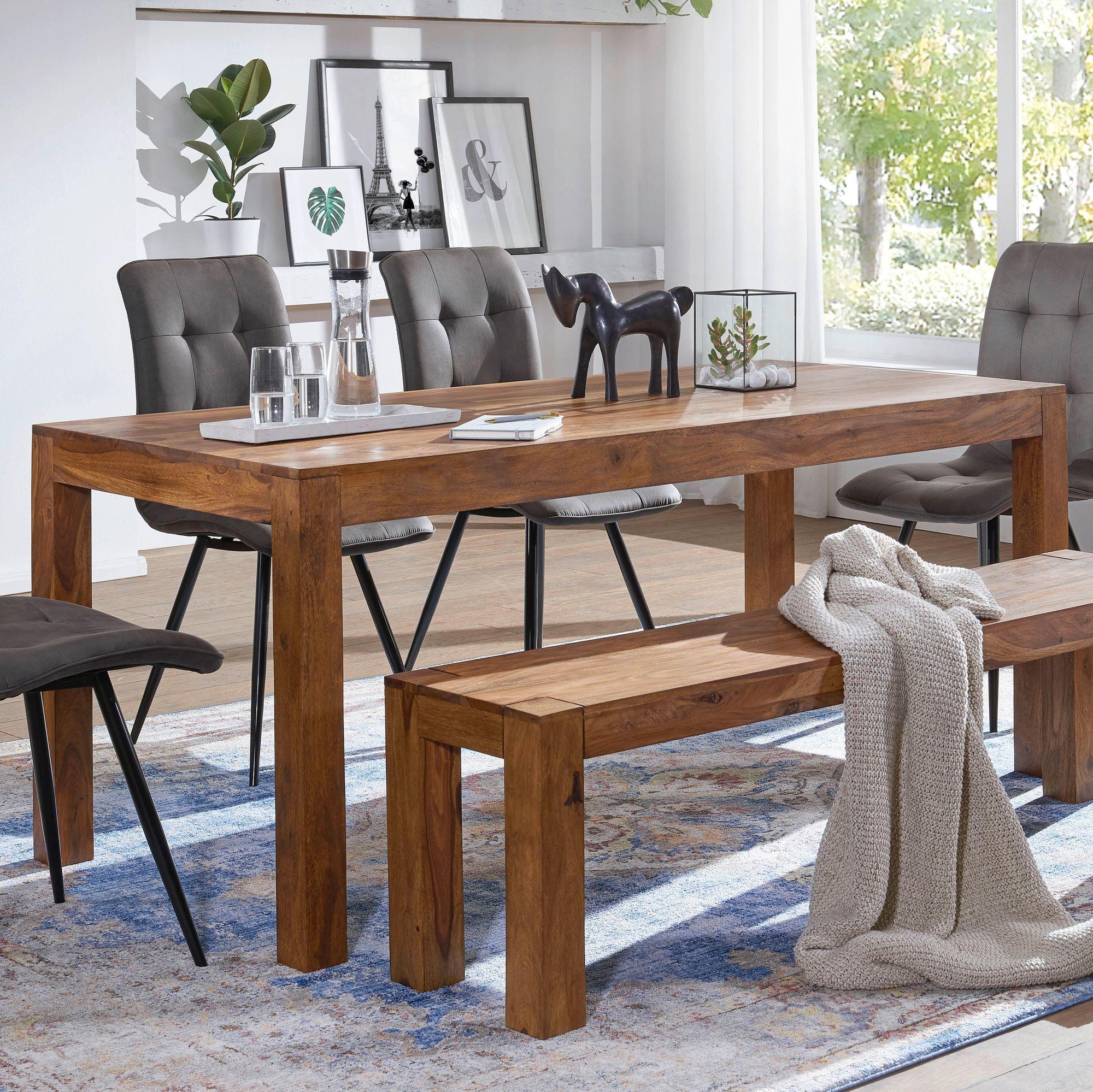 FineBuy Esstisch Massivholz Sheesham Esszimmer-Tisch Küchentisch  Landhaus-Stil | Finebuy