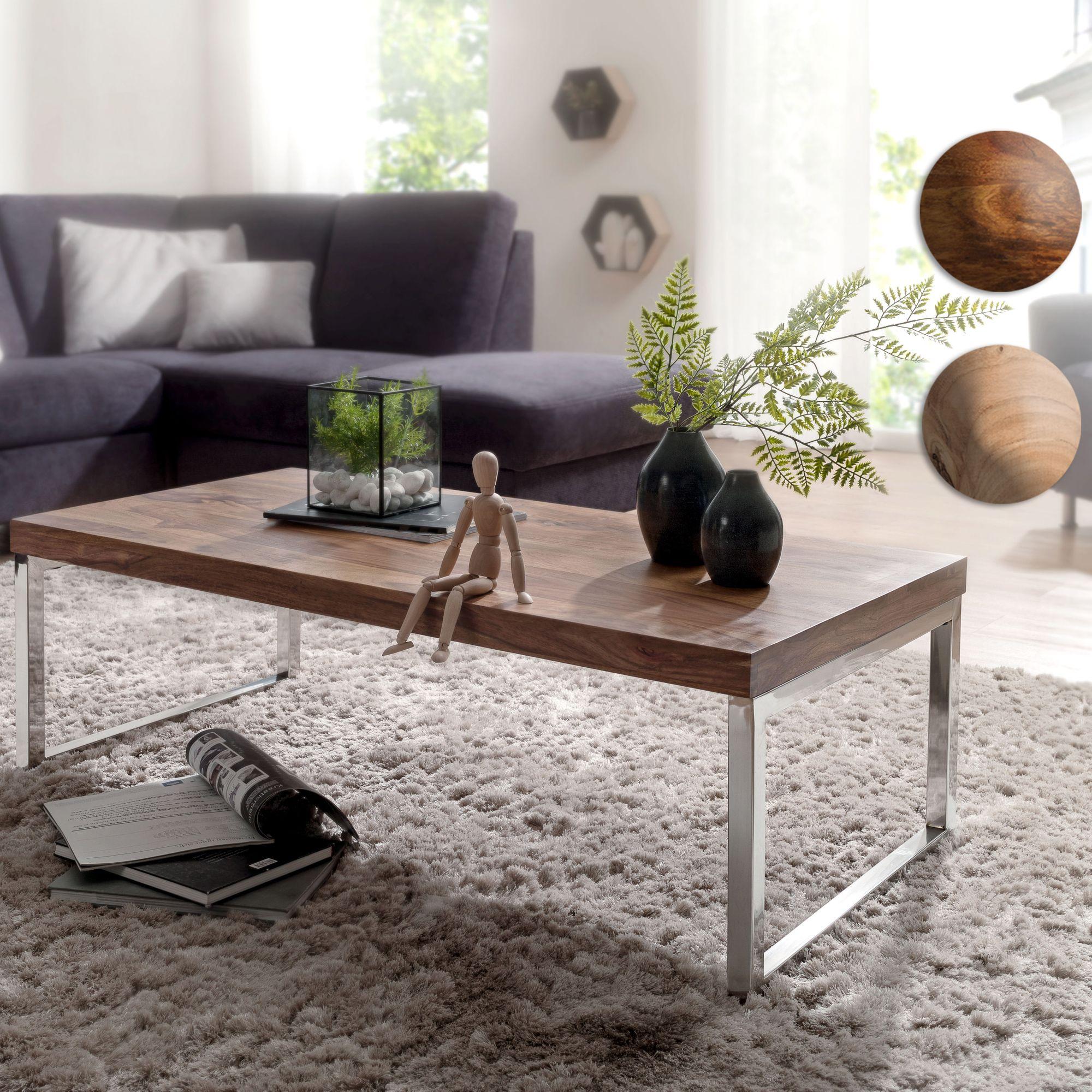 Massiver Couchtisch JAVA 120cm Wohnzimmertisch Holz Tisch Massiv  Beistelltisch