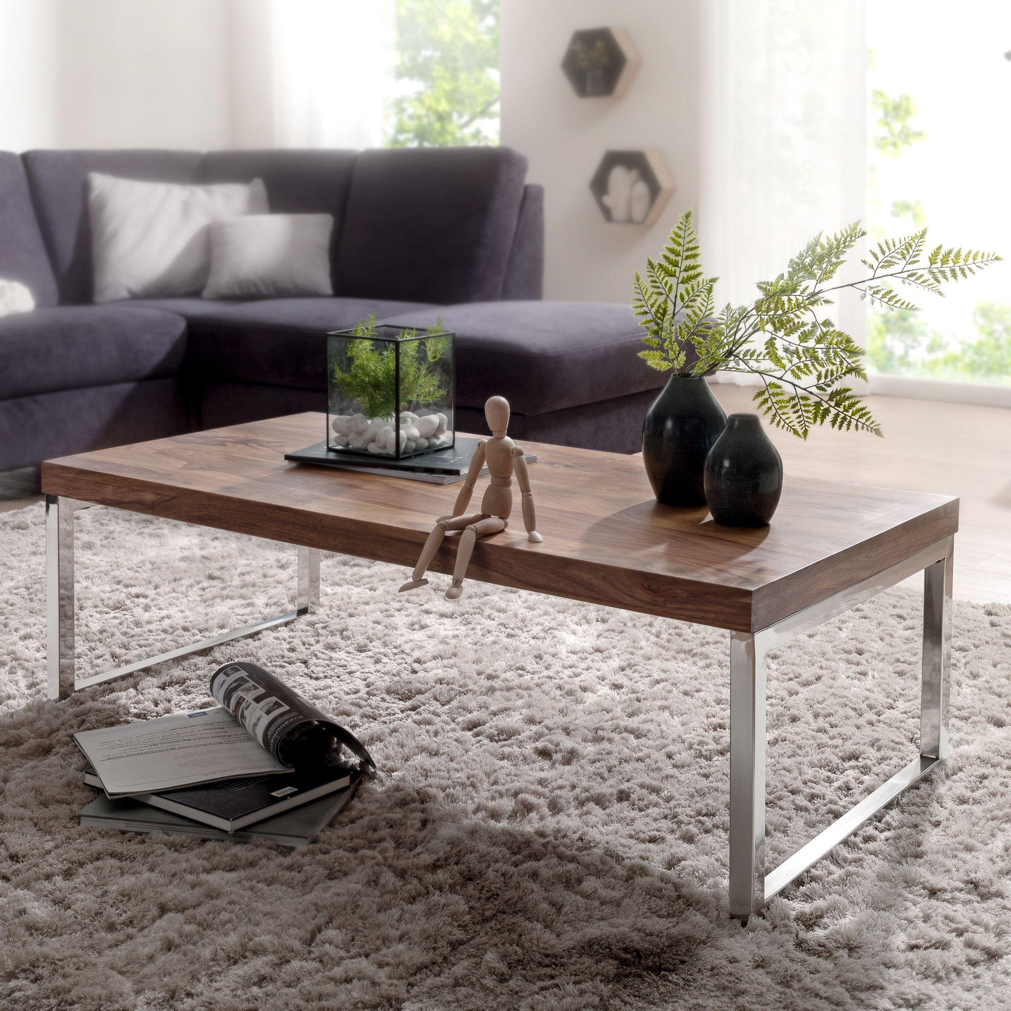 FineBuy Couchtisch JAVA 120 x 60 x 40 cm Massiv Holz Tisch ...