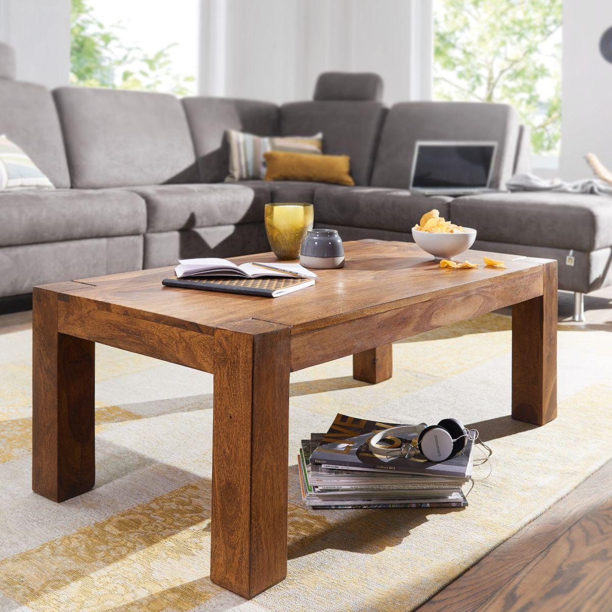 massiver couchtisch patan 110 x 60 x 40 cm holz massiv wohnzimmertisch rechteckig braun. Black Bedroom Furniture Sets. Home Design Ideas