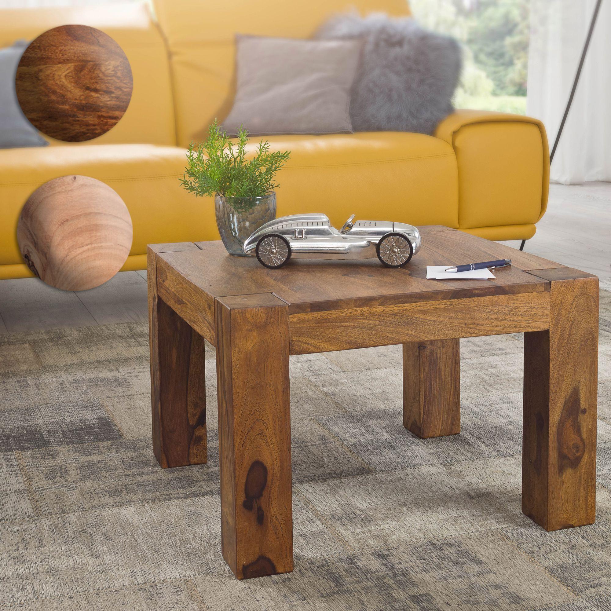 massiver couchtisch patan 60 x 60 x 40 cm holz massiv wohnzimmertisch quadratisch braun. Black Bedroom Furniture Sets. Home Design Ideas