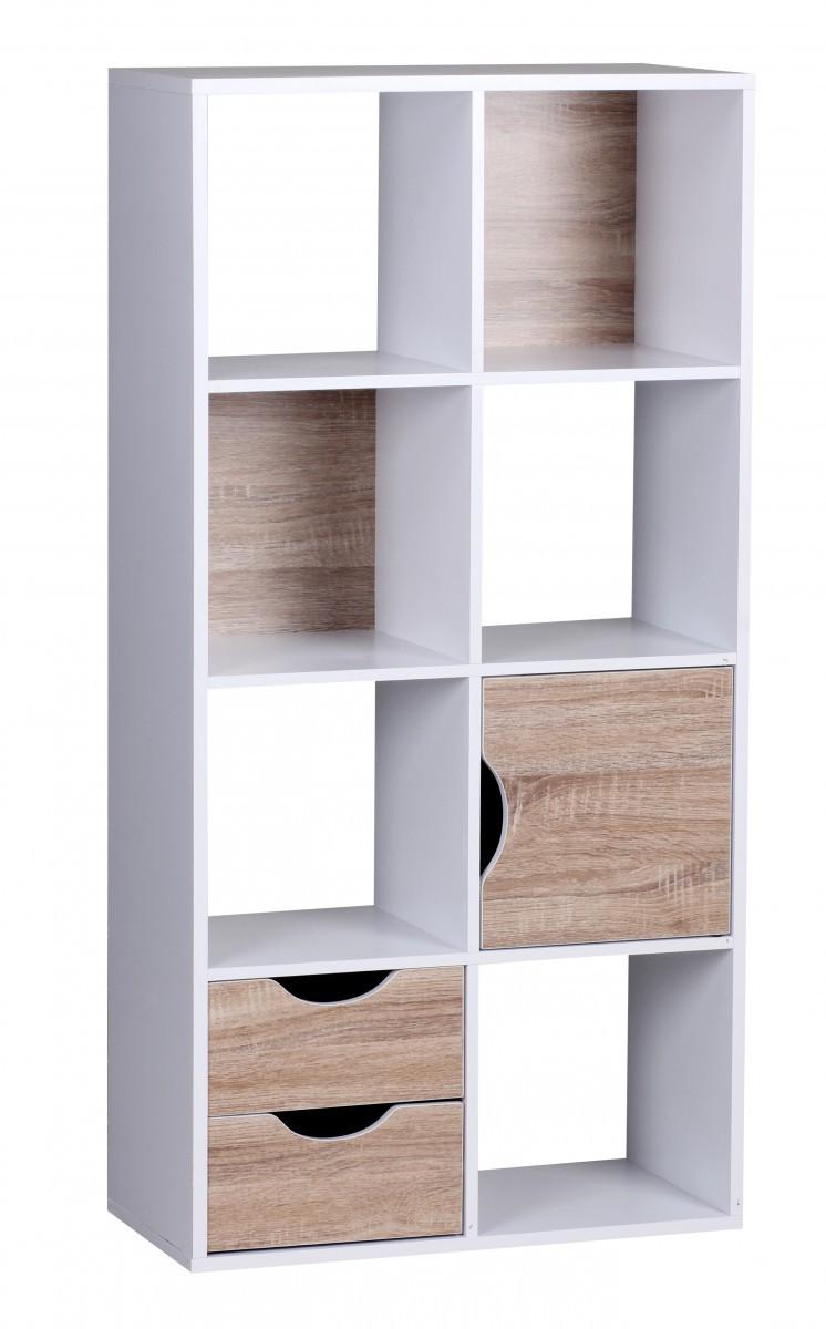 finebuy design bücherregal modern holz weiß mit türen sonoma eiche