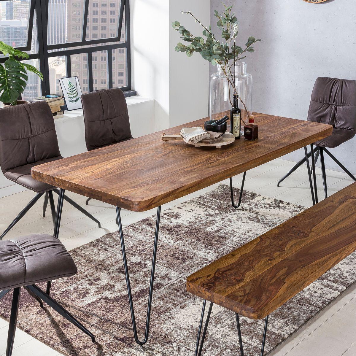 massiver esstisch harlem sheesham holz tisch massiv esszimmertisch holztisch ebay. Black Bedroom Furniture Sets. Home Design Ideas