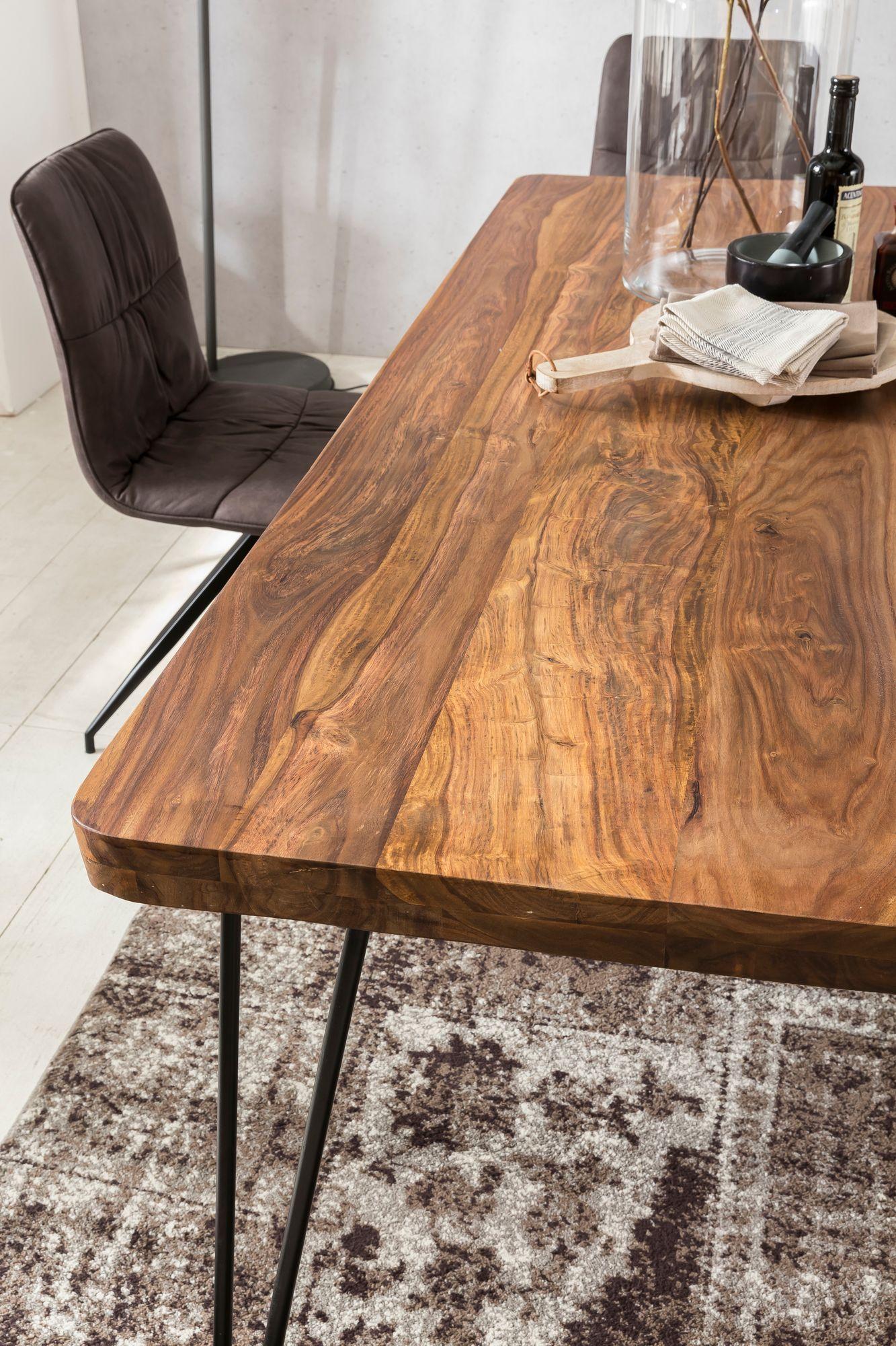 Elegant Massiver Esstisch HARLEM Sheesham Massiv Holz | Esszimmertisch Massivholz  Mit Design Metall Beinen | Holztisch Tisch