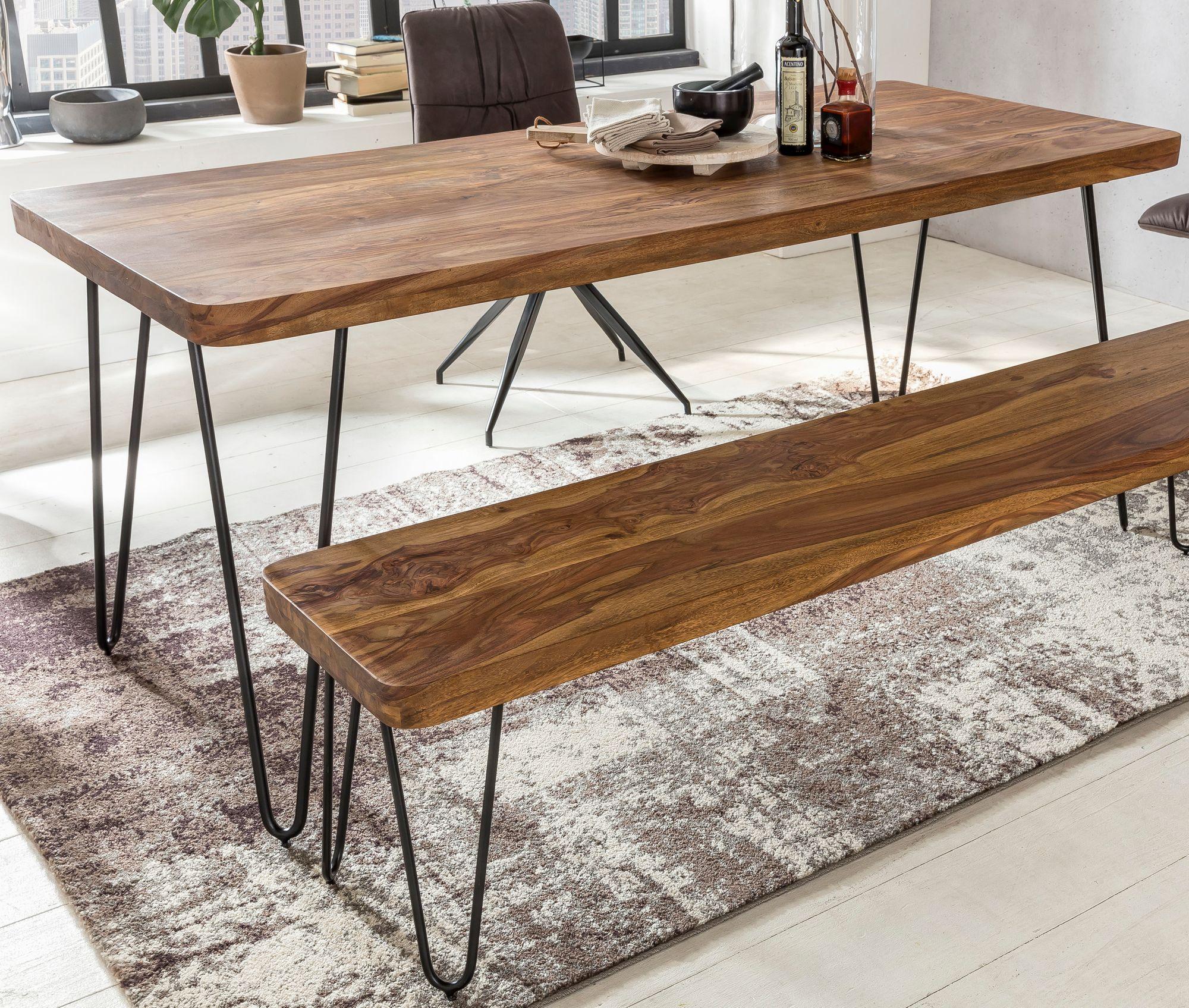 Massiver Esstisch HARLEM Sheesham Massiv Holz | Esszimmertisch Massivholz  Mit Design Metall Beinen | Holztisch Tisch