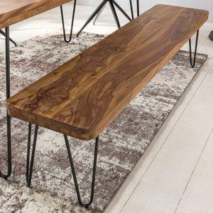 ... FineBuy Massive Sitzbank HARLEM Sheesham Holz Bank Für Esstisch Massiv  | Küchenbank Massivholz | Essbank Ohne