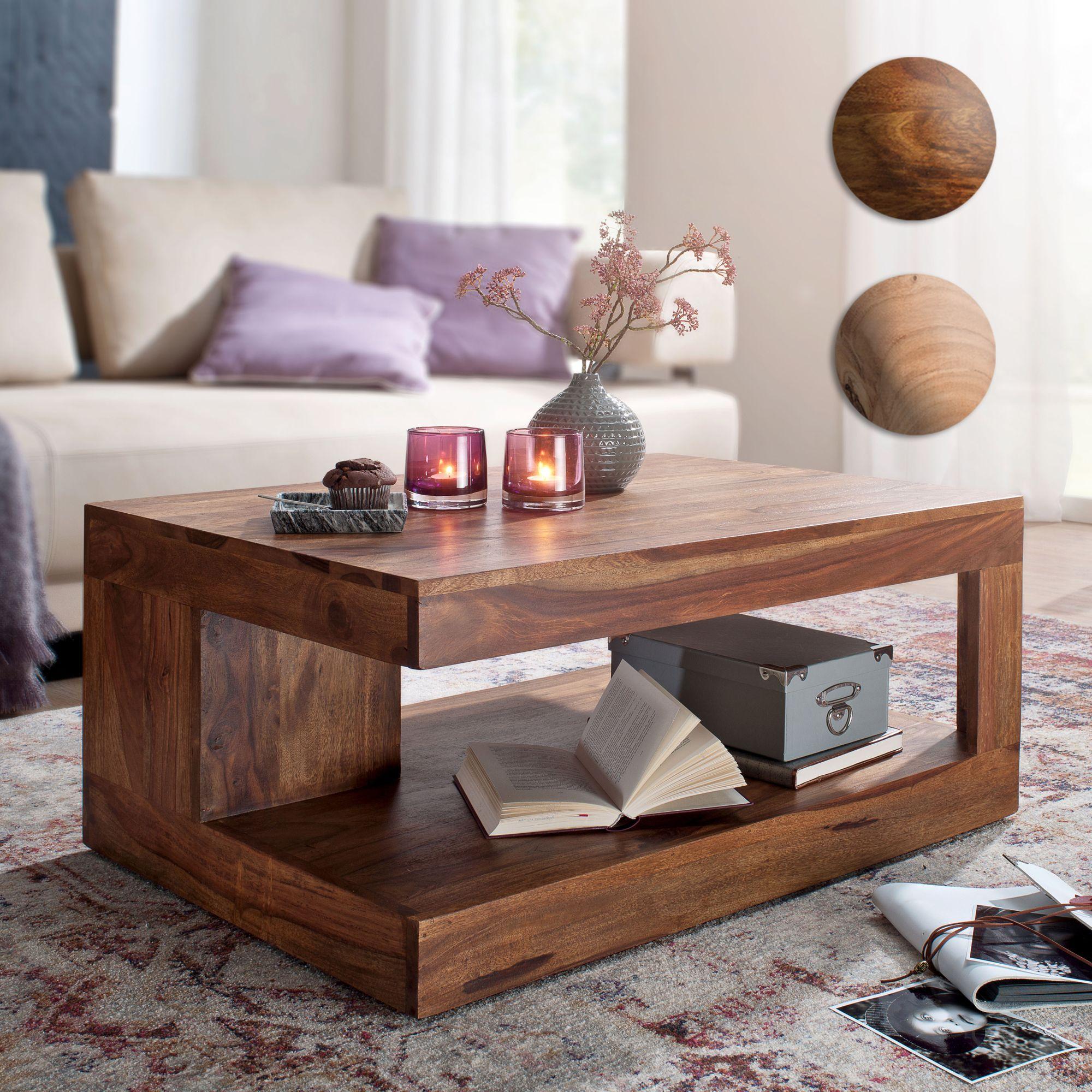 FineBuy Couchtisch Massiv Holz 90 Cm Design Wohnzimmer Tisch Dunkel Braun  Landhaus
