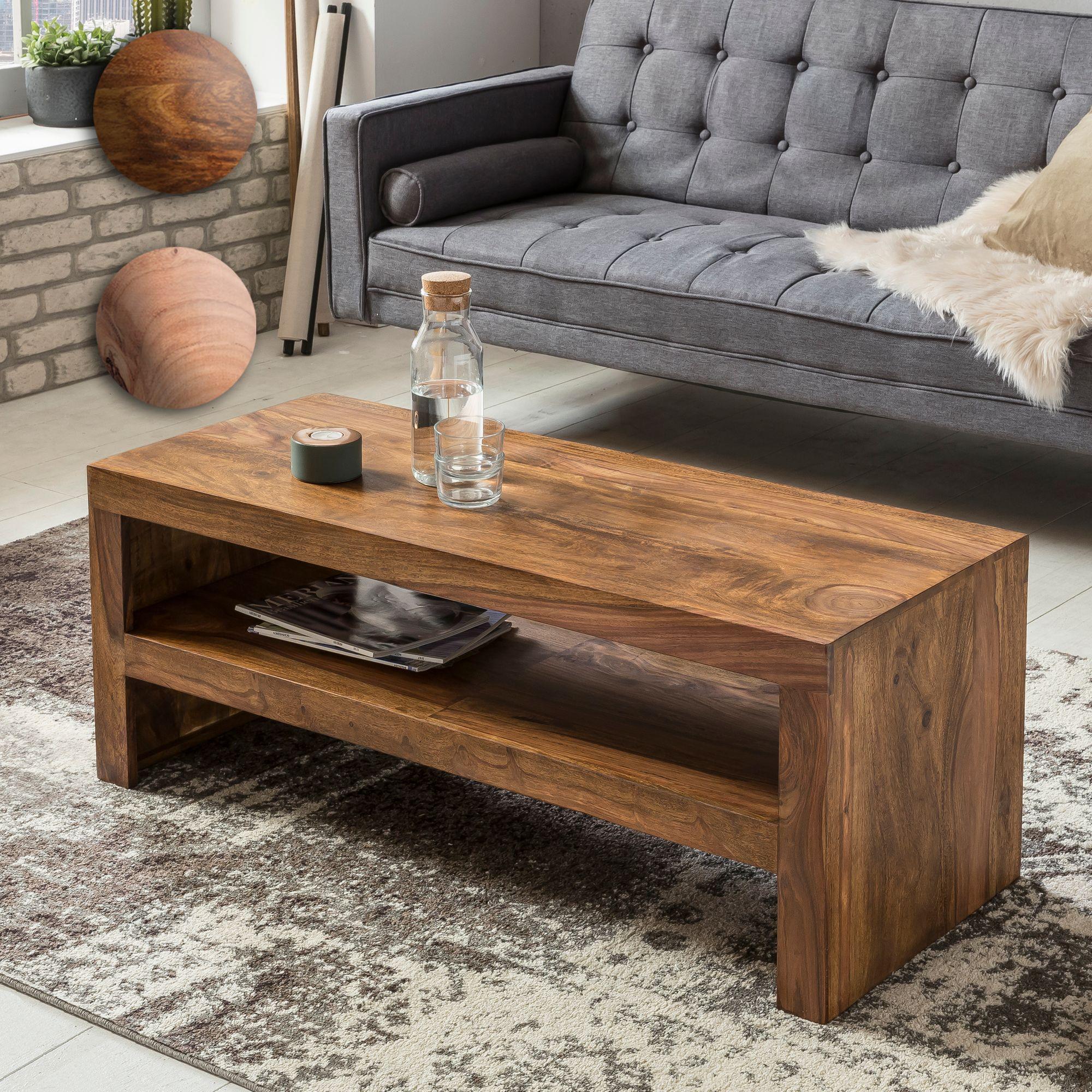 Massiver Couchtisch Holz Massiv Dunkel 110cm Design Wohnzimmertisch
