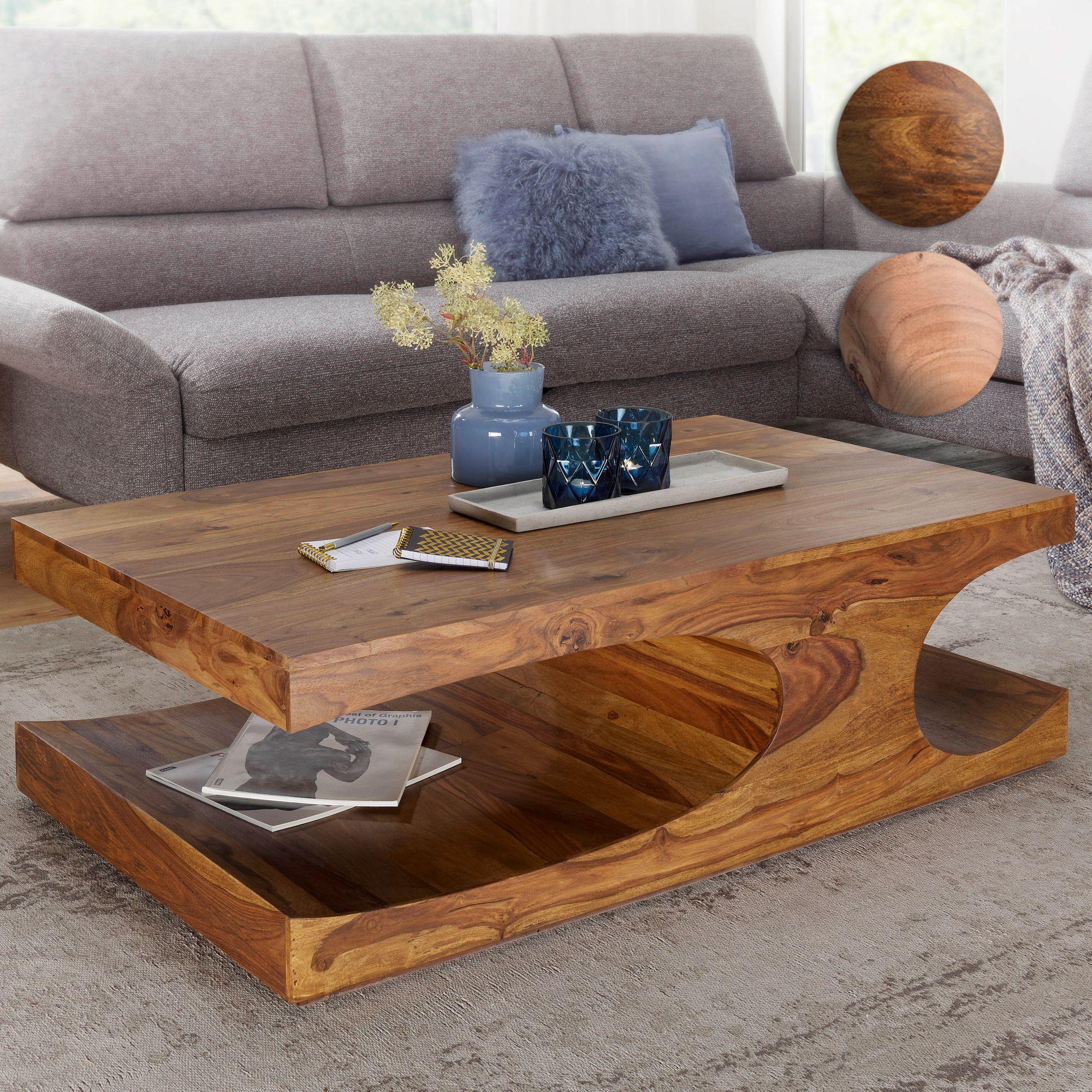 FineBuy Couchtisch Massiv-Holz 120 cm breit Wohnzimmer-Tisch Design ...