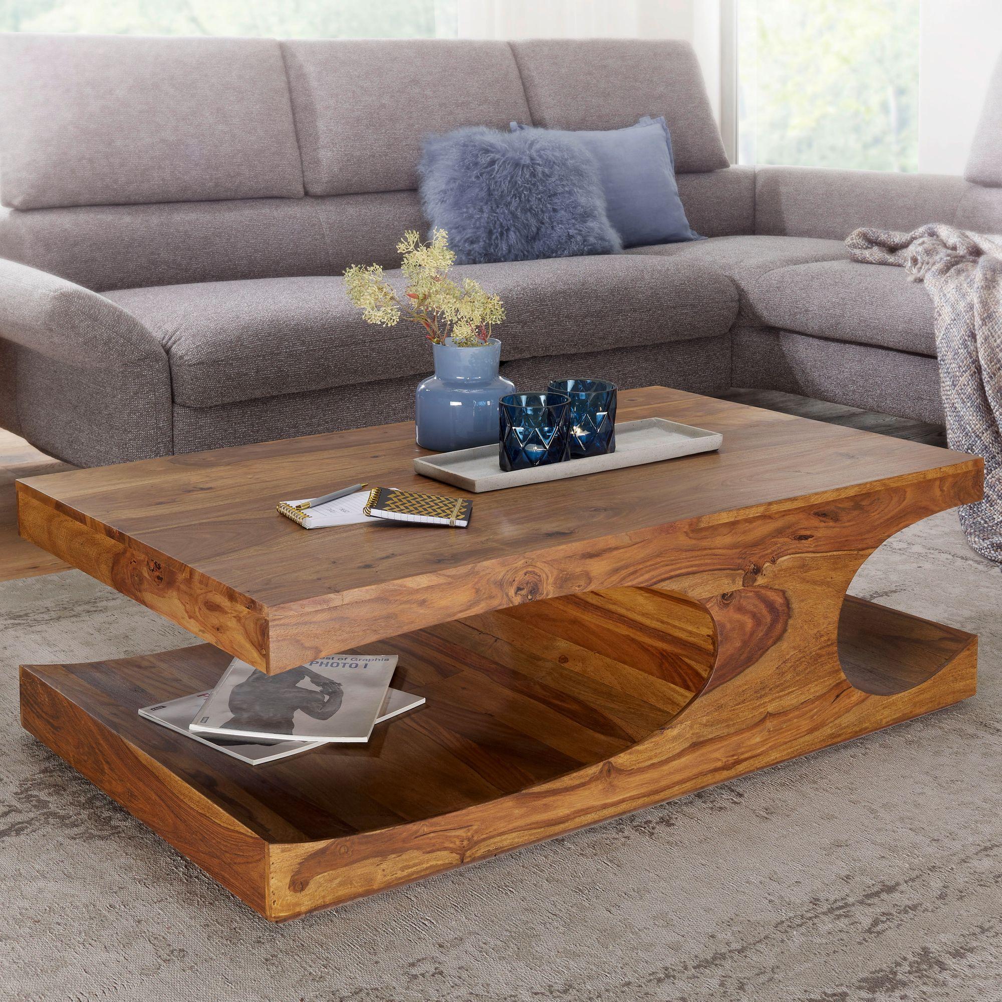 Finebuy Couchtisch Massivholz 120 Cm Breit Wohnzimmertisch Landhaus Beistelltisch
