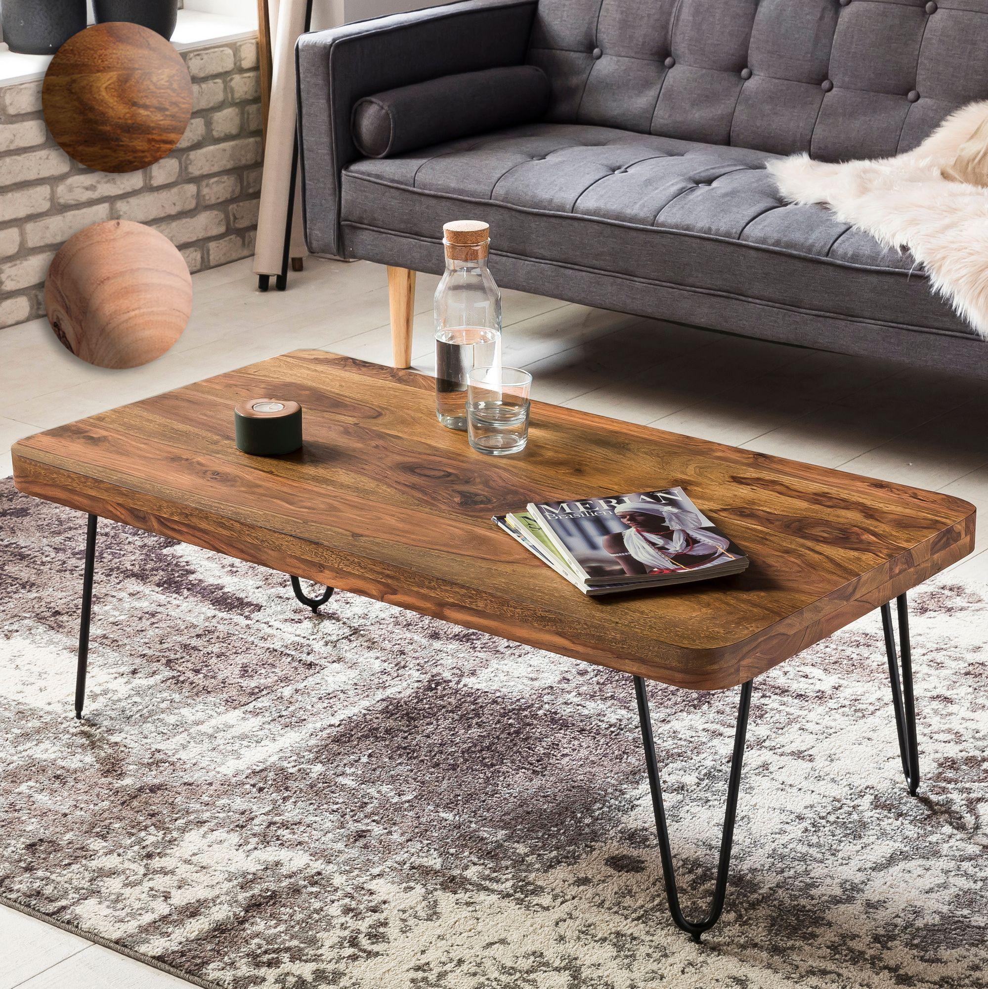 FineBuy Couchtisch HARLEM Massiv-Holz 115 cm breit Wohnzimmer-Tisch ...