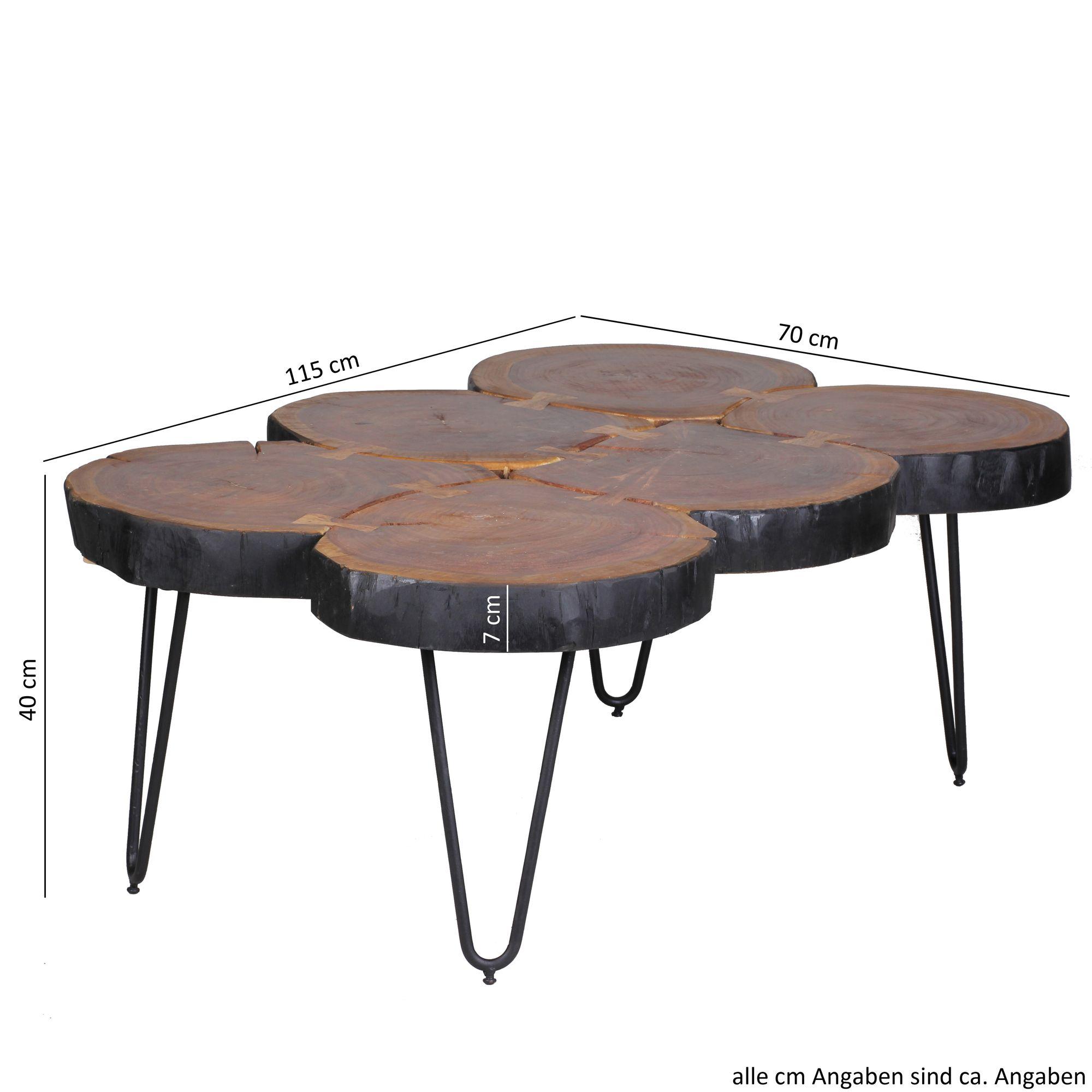 Massiver Couchtisch Harlem 115 Cm Baumstamm Tisch Wohnzimmertisch