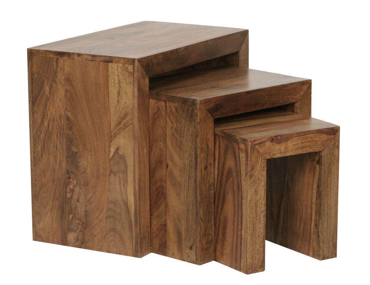 Finebuy 3er set satztisch massivholz wohnzimmertisch for Wohnzimmertisch braun