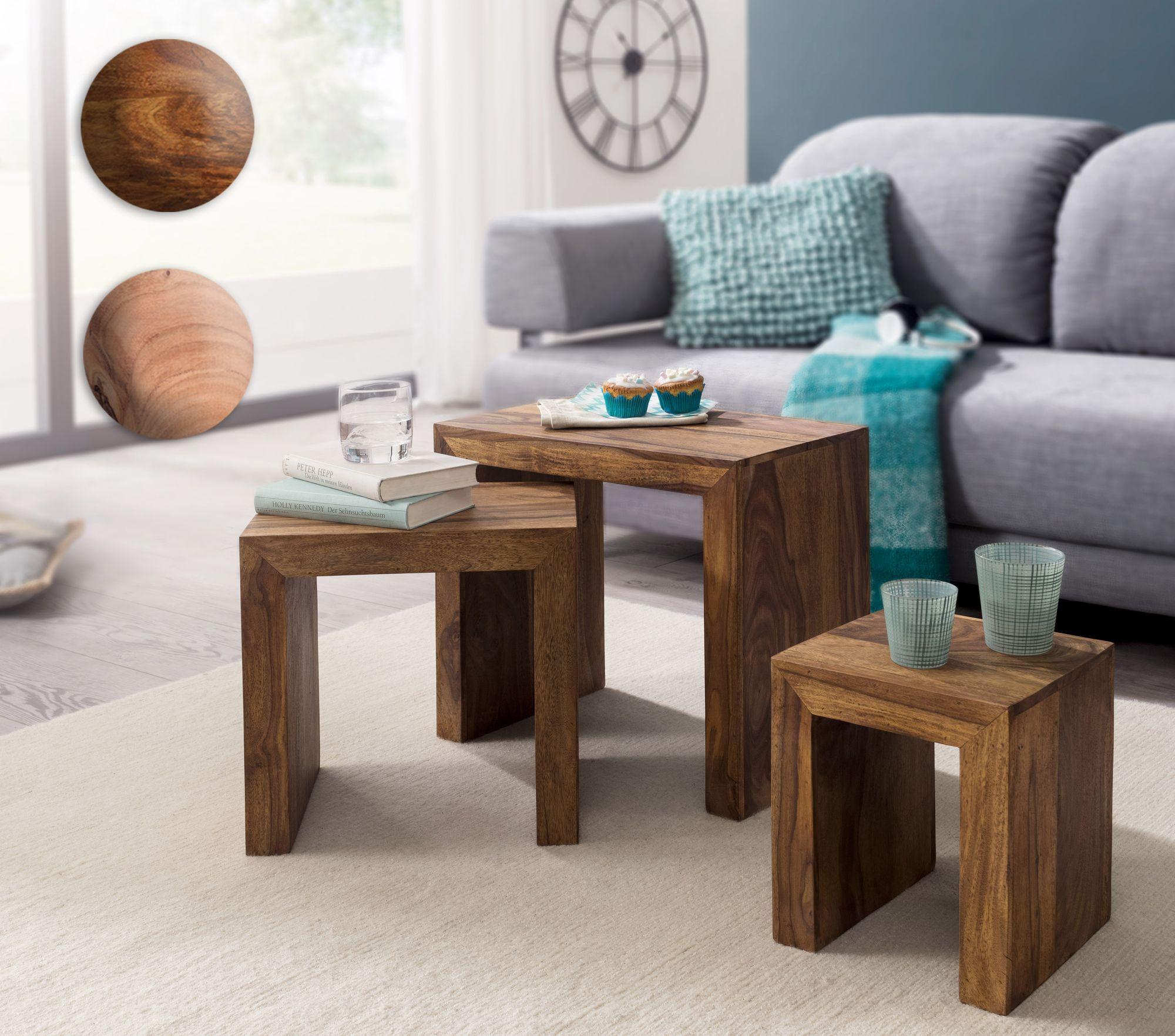 3er set satztisch akazie holz wohnzimmertisch beistelltisch massiver couchtisch ebay. Black Bedroom Furniture Sets. Home Design Ideas