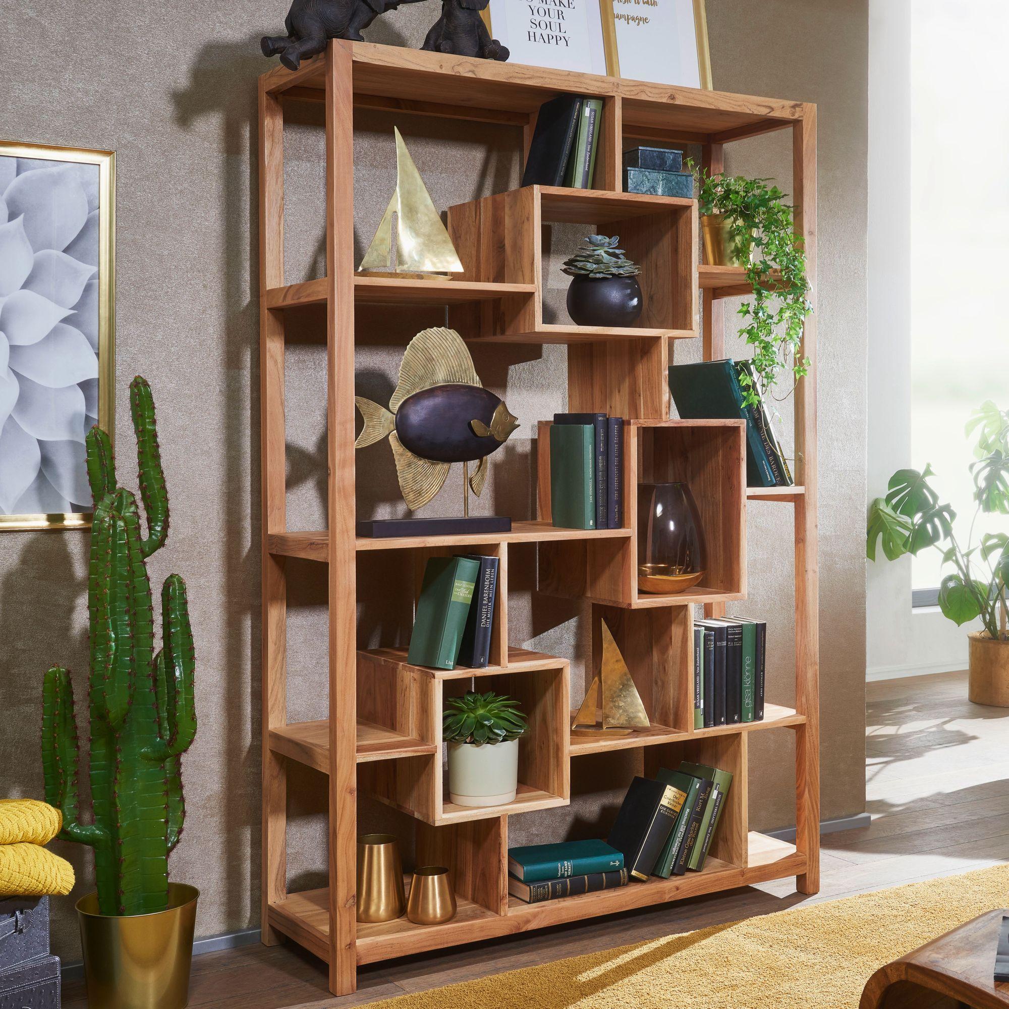 FineBuy Bücherregal Massiv-Holz 8 x 8 cm Wohnzimmer-Regal Ablagefächer  Design Landhaus Standregal Farbe wählbar