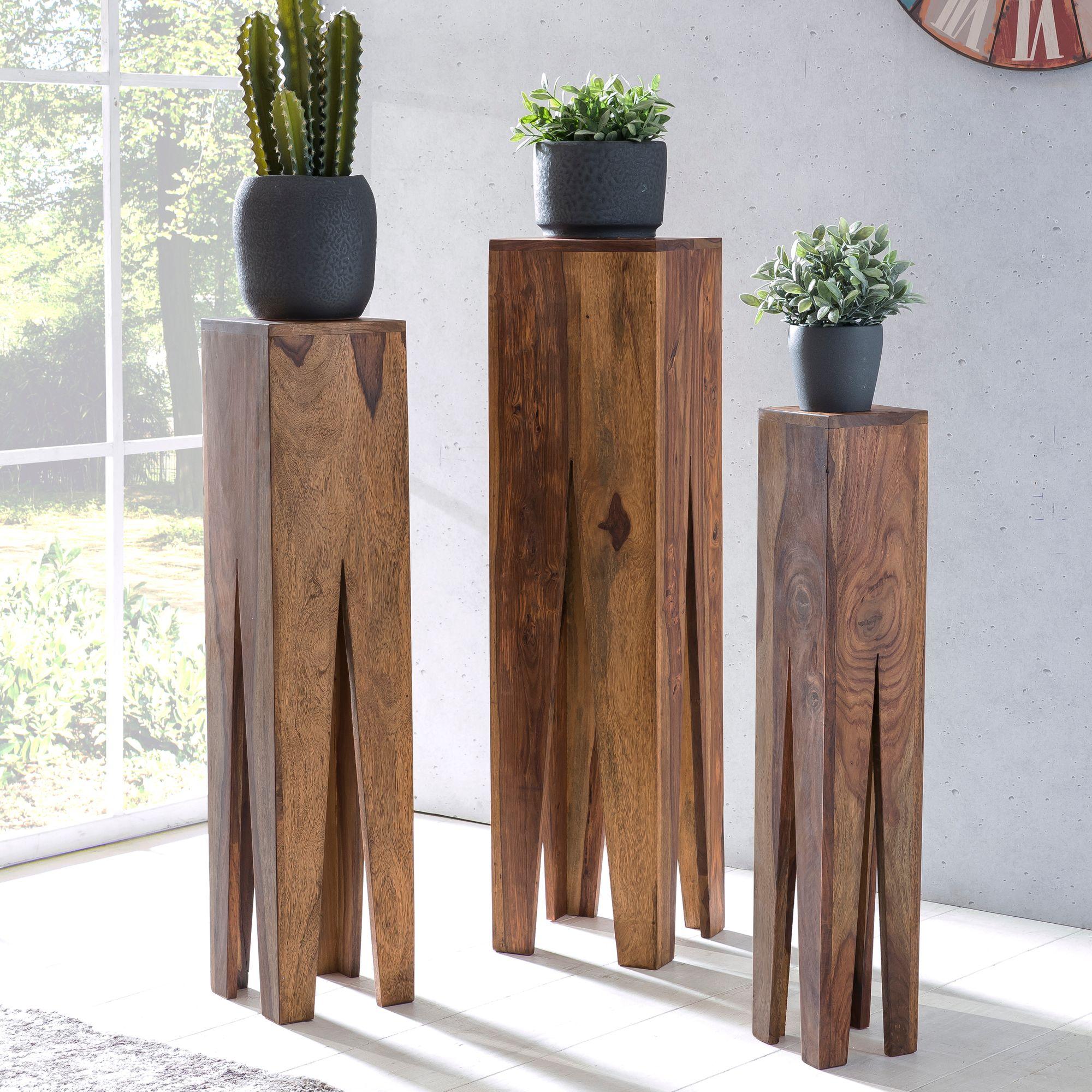 Beistelltisch 3er Set Massivholz Wohnzimmertisch Design Säulen