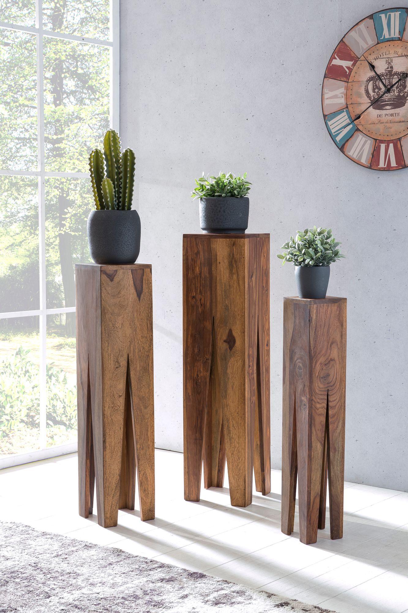 Beistelltisch 3er Set Massivholz Wohnzimmertisch Design Säulen ...