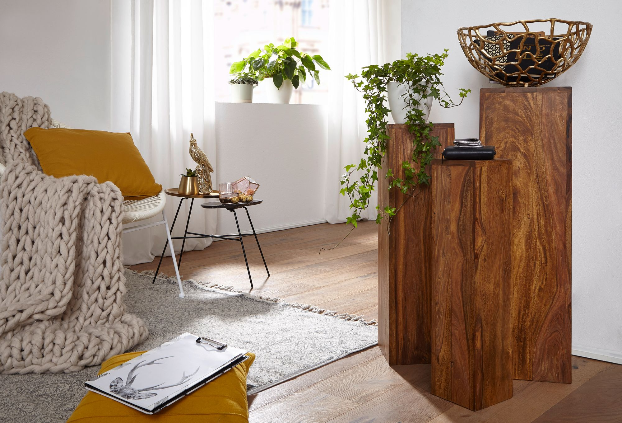 FineBuy Beistelltisch 4445er Set Massivholz 4445,445x8445x4445,445 cm Tische  Holztisch  Natur-Produkt  Echtholz Beistelltische Dekosäulen  Drei Holztische Braun