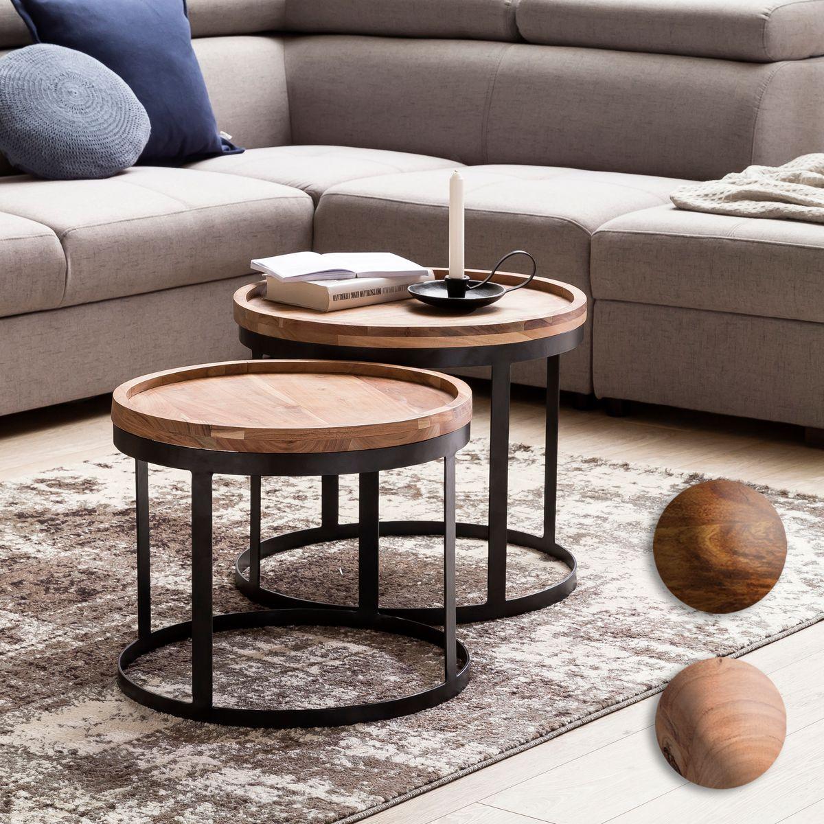 Finebuy 2er set beistelltische massivholz wohnzimmertisch for Wohnzimmertisch 2er set