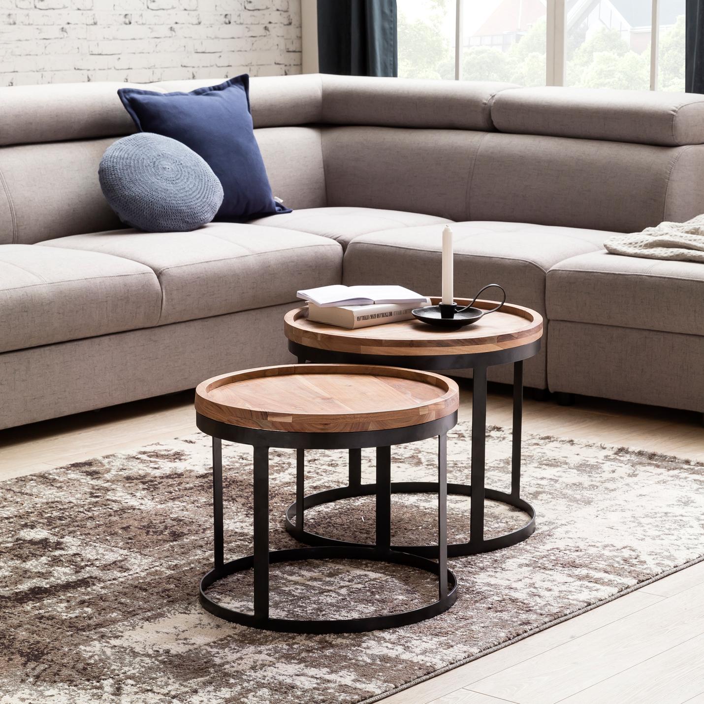 Finebuy 2er Set Beistelltische Massivholz Wohnzimmertisch Landhaus Metallgestell