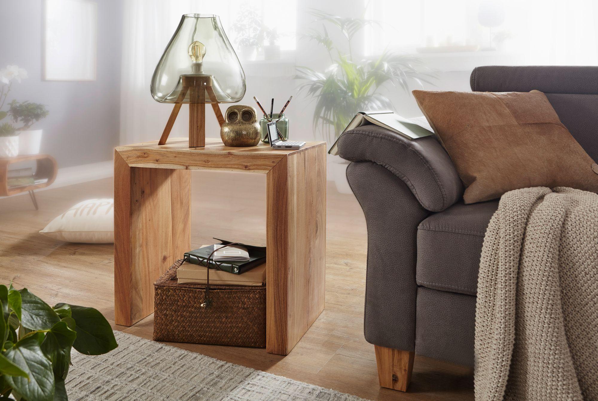 FineBuy Beistelltisch Massivholz 60x35cm Wohnzimmertisch Landhausstil  Couchtisch