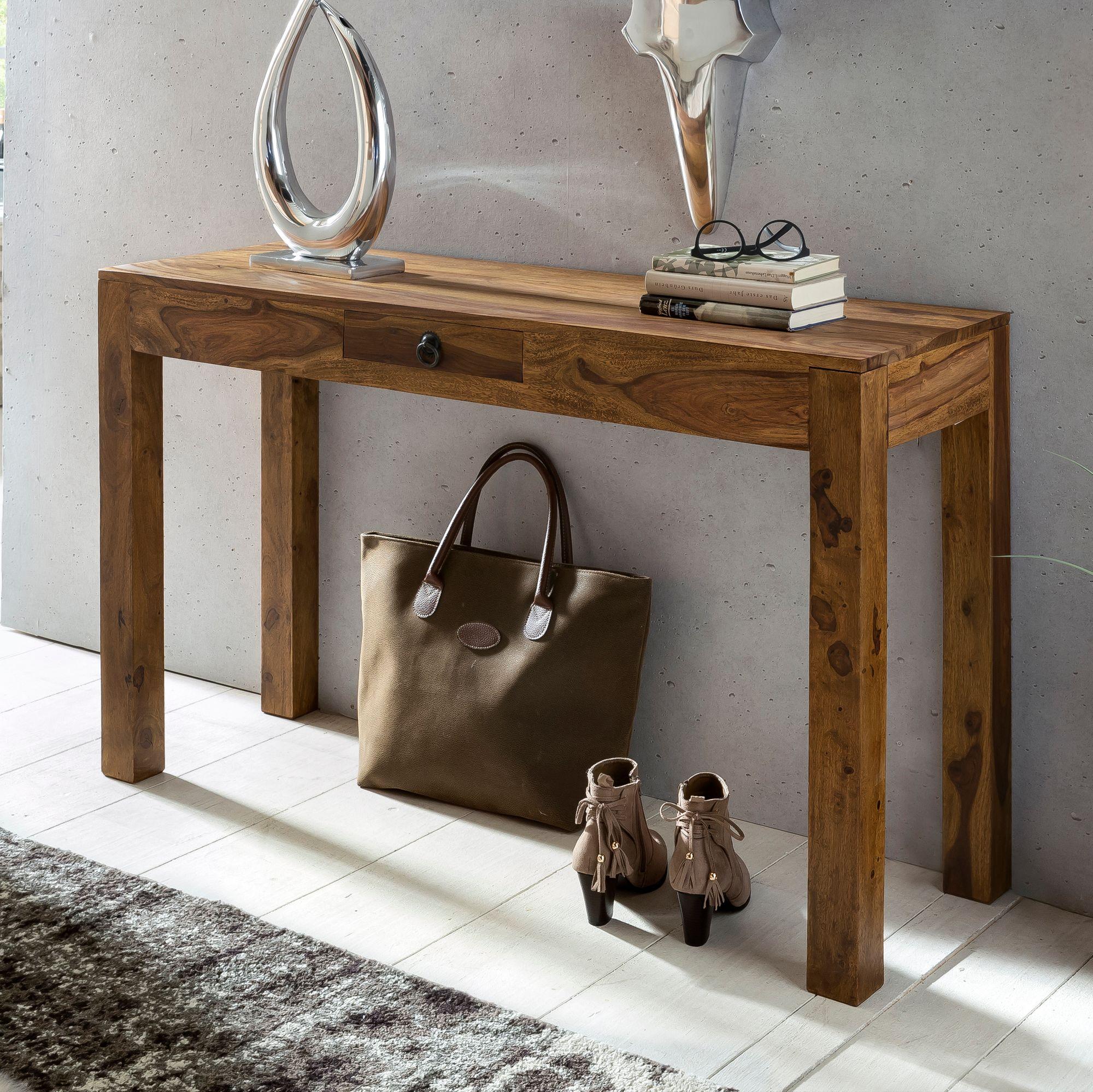 Konsolentisch Holz Massiv Wandtisch Konsole Anrichte 1 Schublade