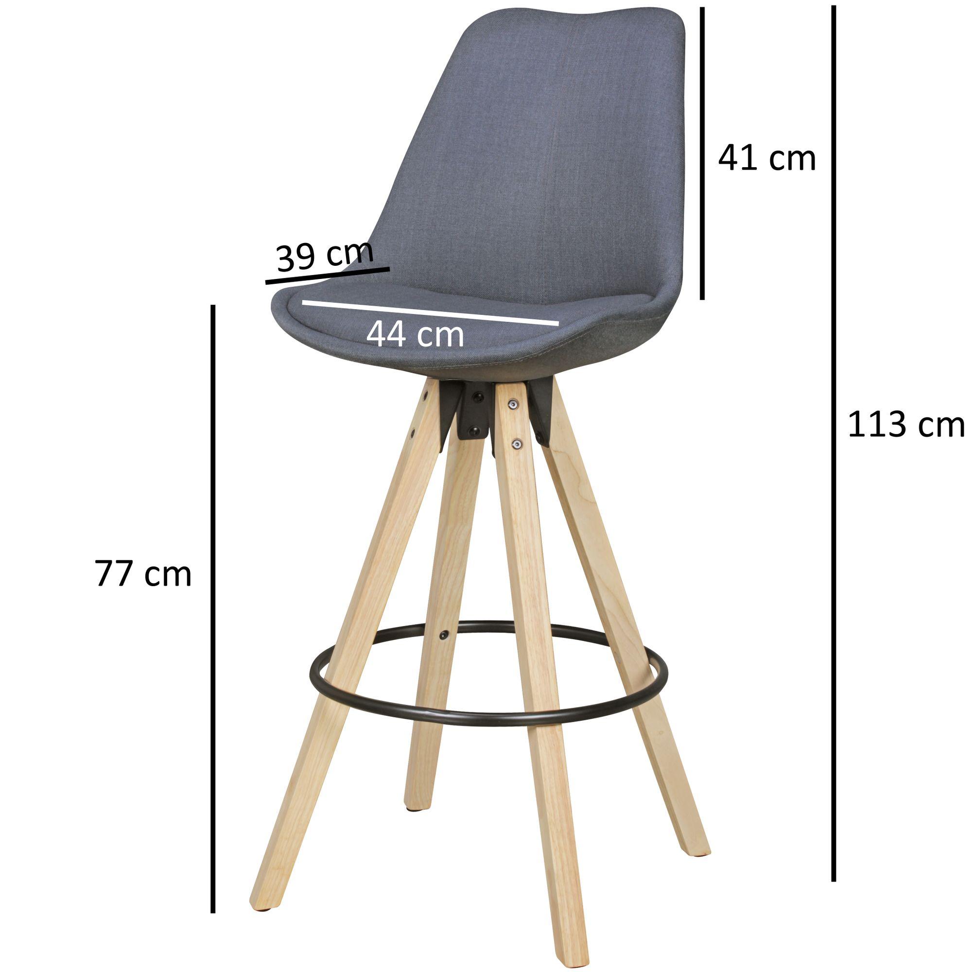 Wohnling 2er Set Barhocker Lima Anthrazit Retro Design Stoff Holz Mit Lehne Design Barstuhl Retro