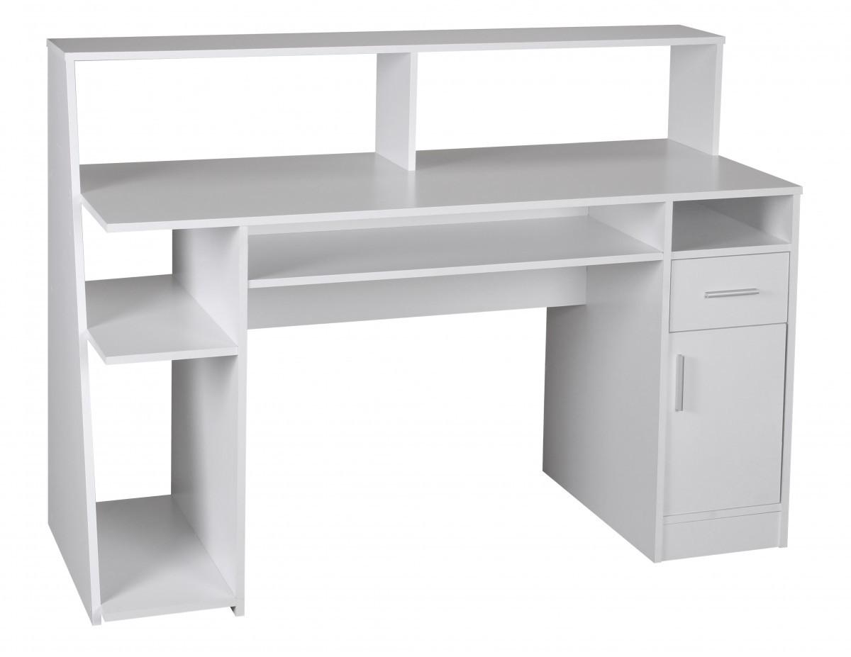 Schreibtisch weiß mit regal  FineBuy Multifunktion Design Schreibtisch Computertisch weiß ...