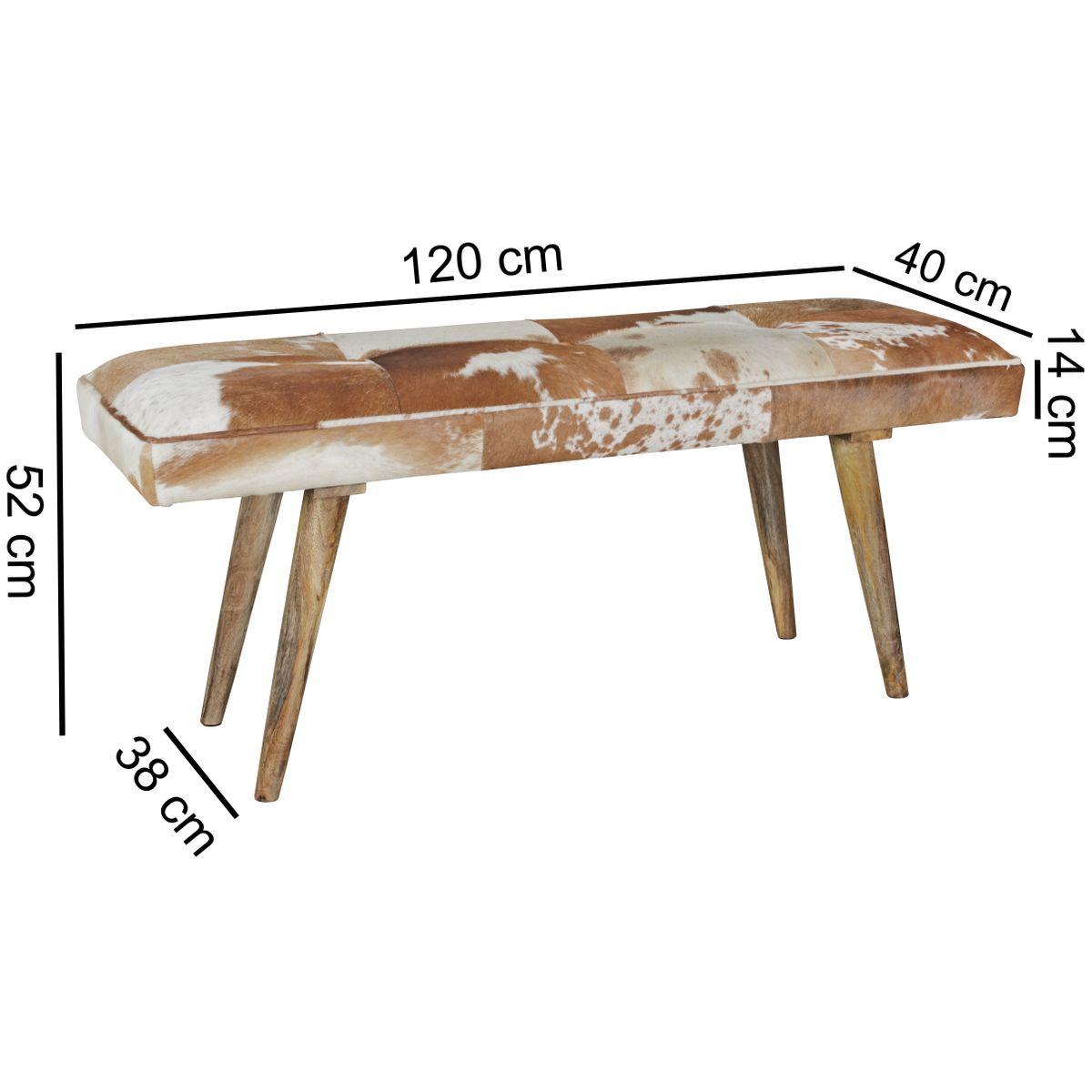 wohnling sitzbank ziegenfell 120cm flurbank polsterbank. Black Bedroom Furniture Sets. Home Design Ideas